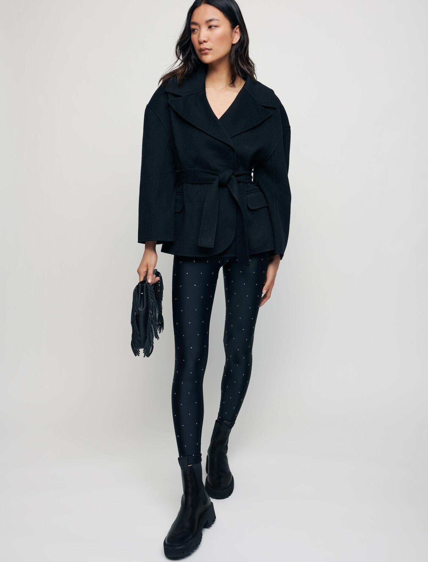 DOUBLE FACE WOOL BLEND COAT WITH BELT