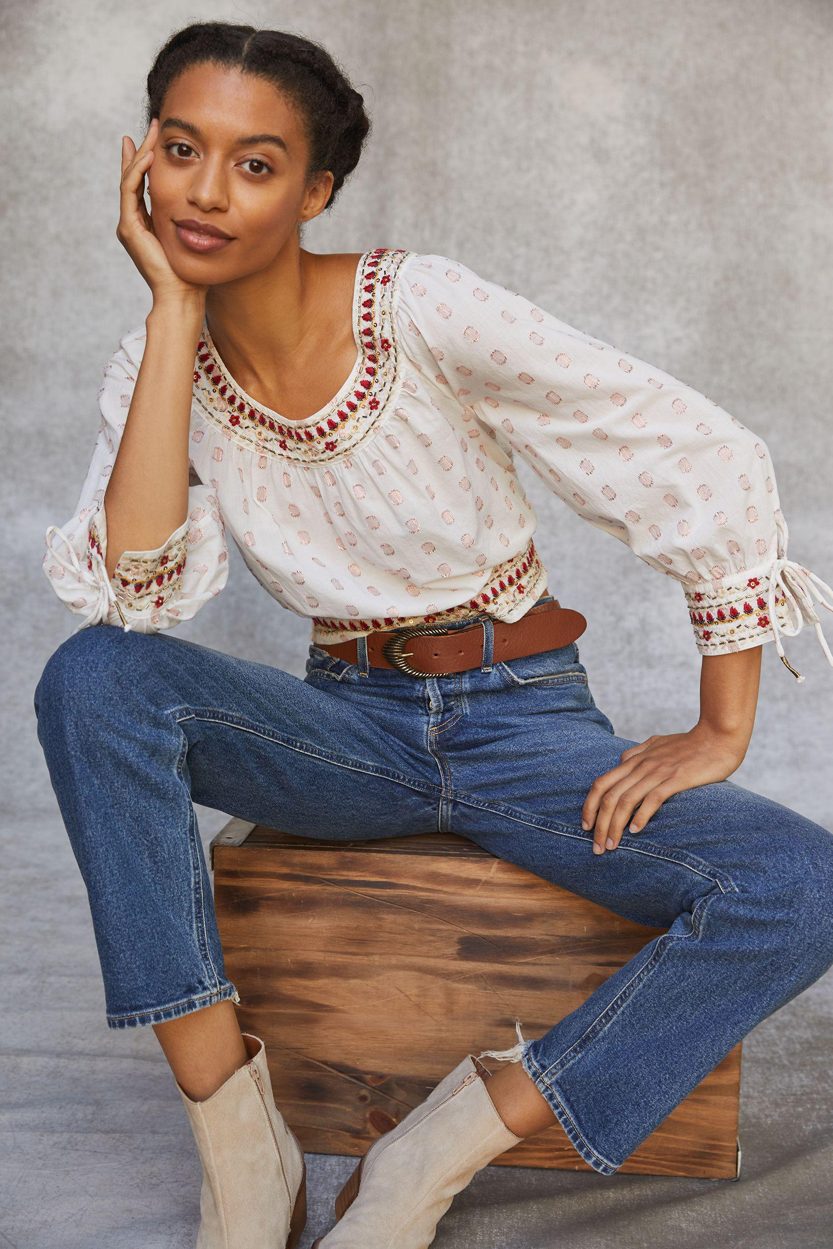 Beaded Puff-Sleeved Blouse