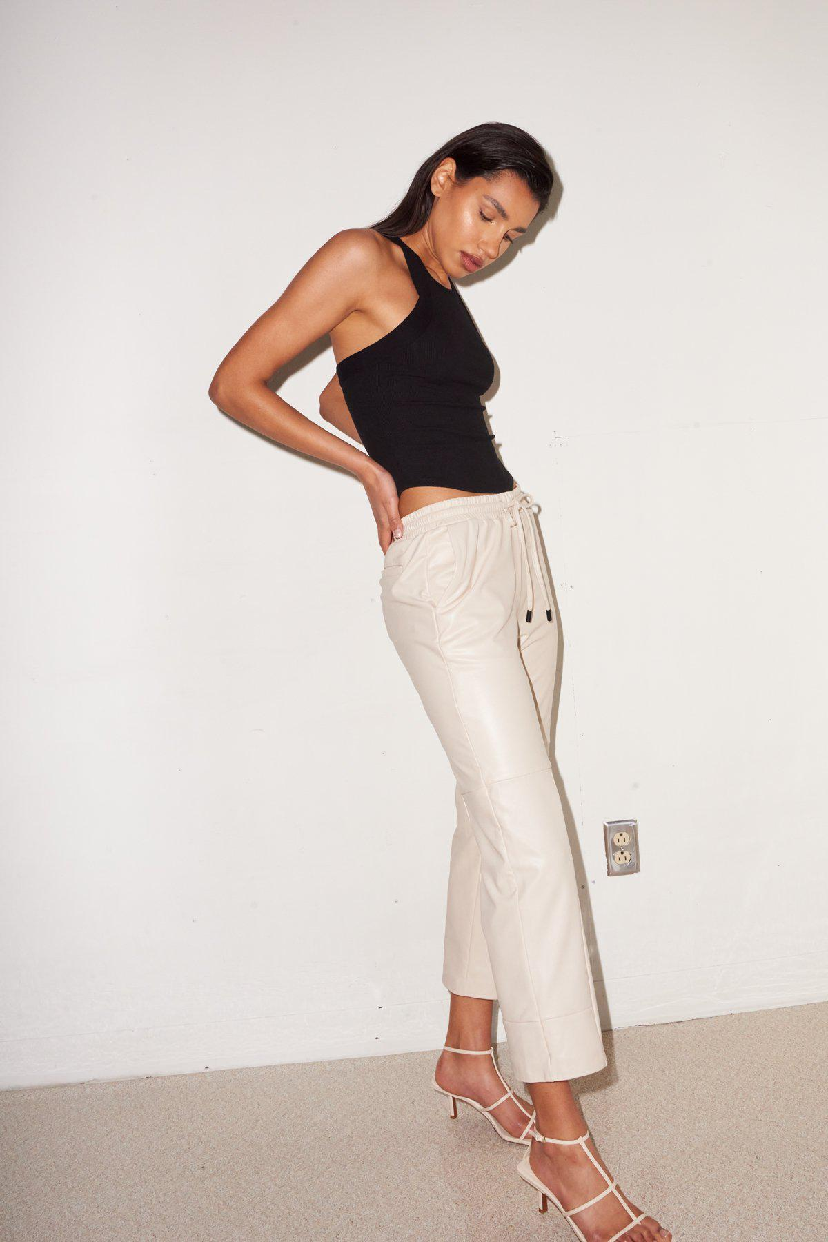 Faux Leather Pull On Pant - Bone 0