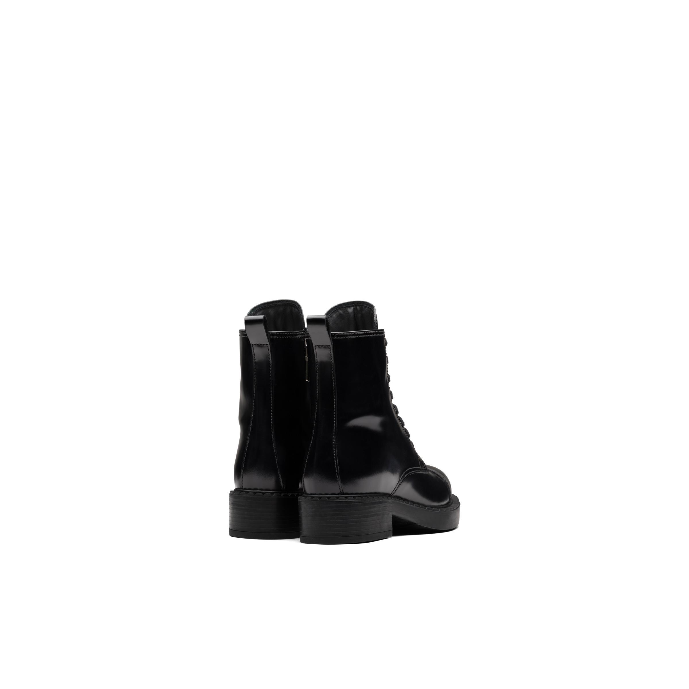 Brushed Leather Laced Booties Women Black 3