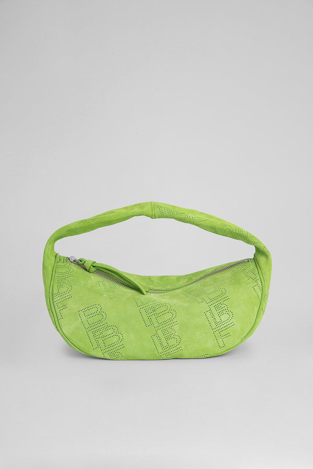 Cush Bright Green Perforated Suede Leather
