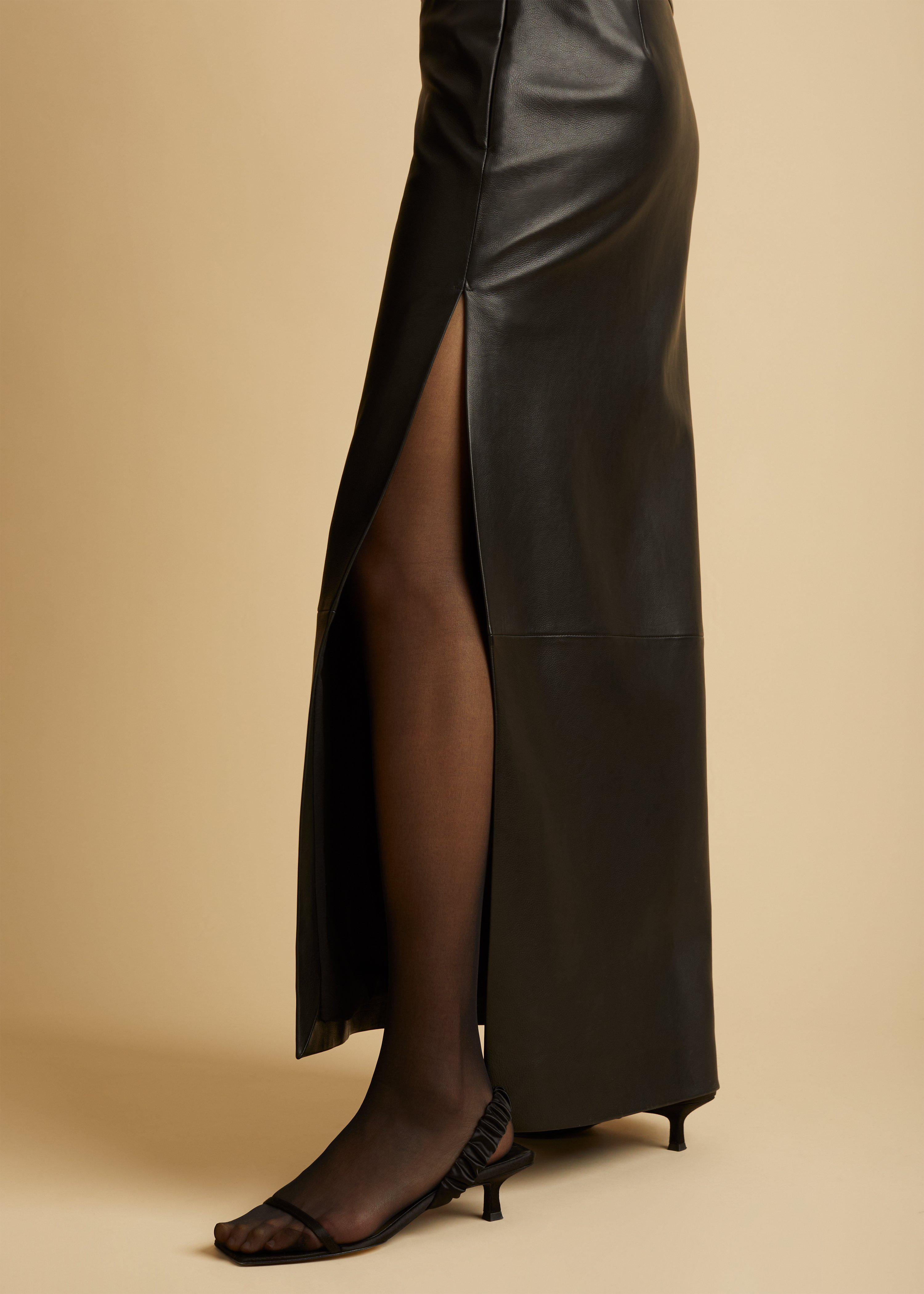 The Myla Skirt in Black Leather 3