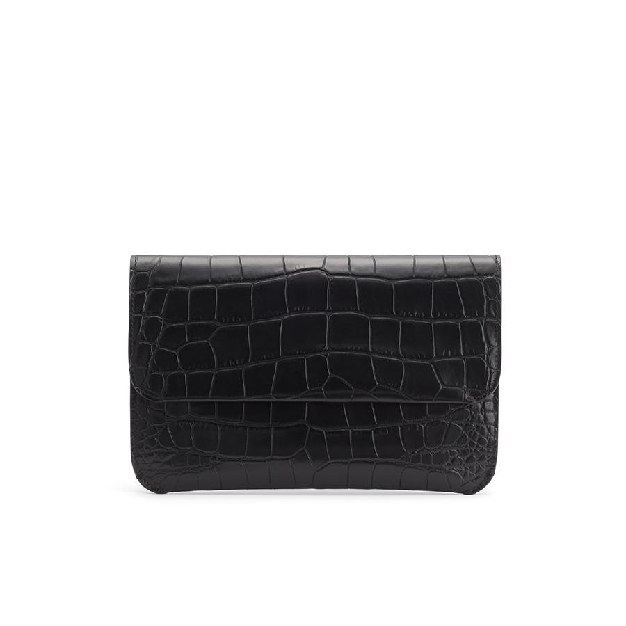 Women's System Flap Bag in Textured Black | Croc-Embossed by Cuyana