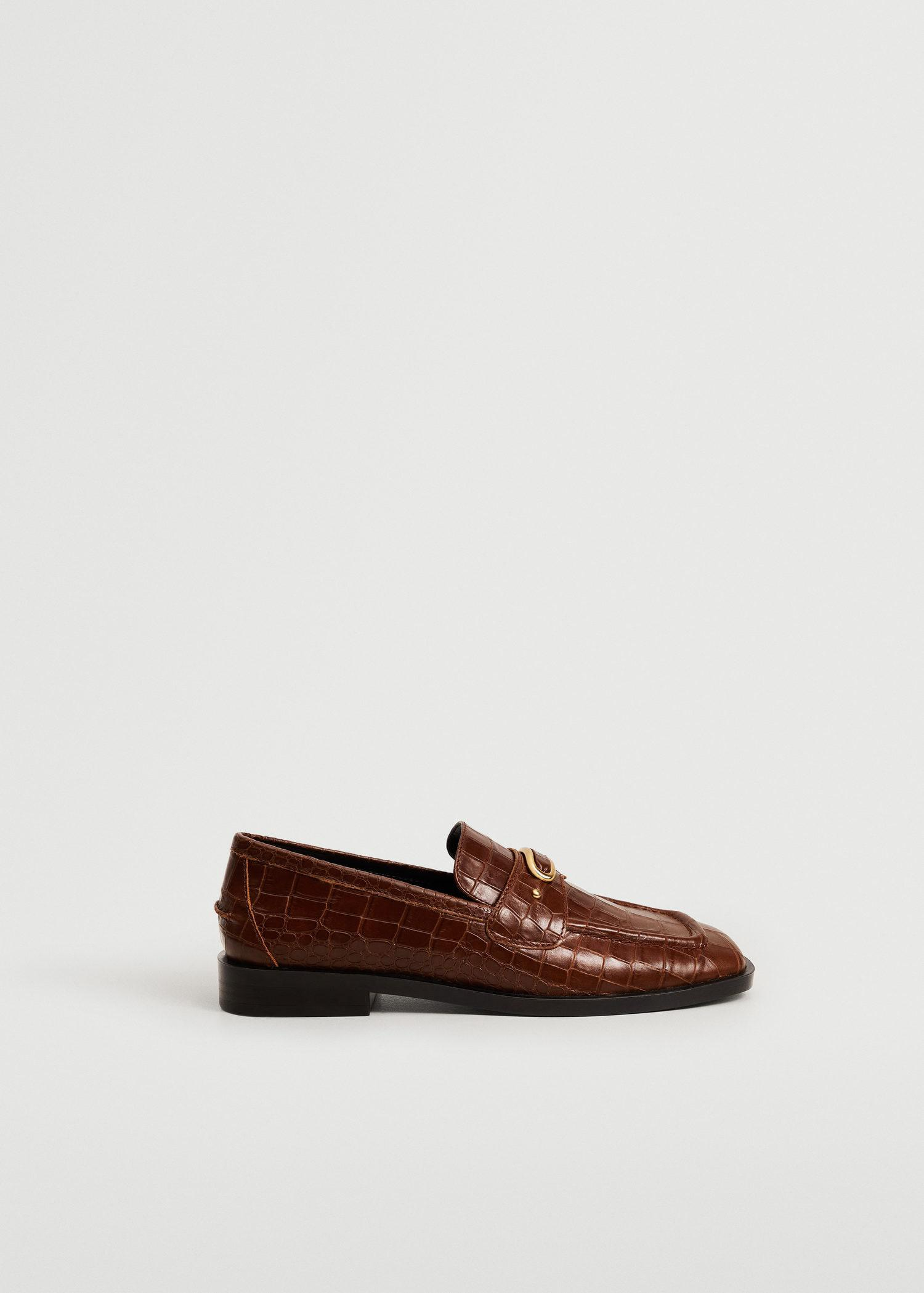 Buckle leather moccasins