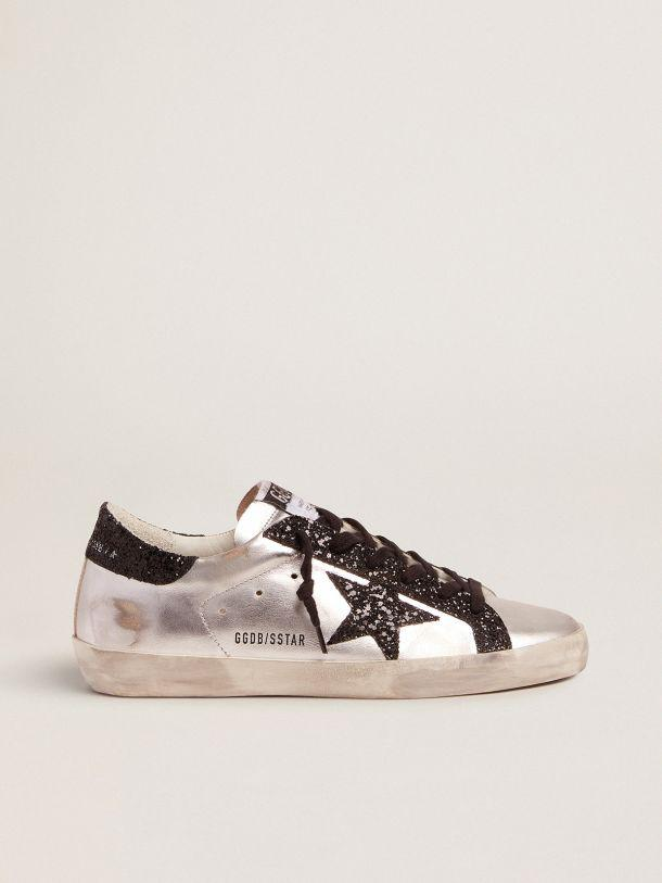 Silver Super-Star sneakers with glitter details