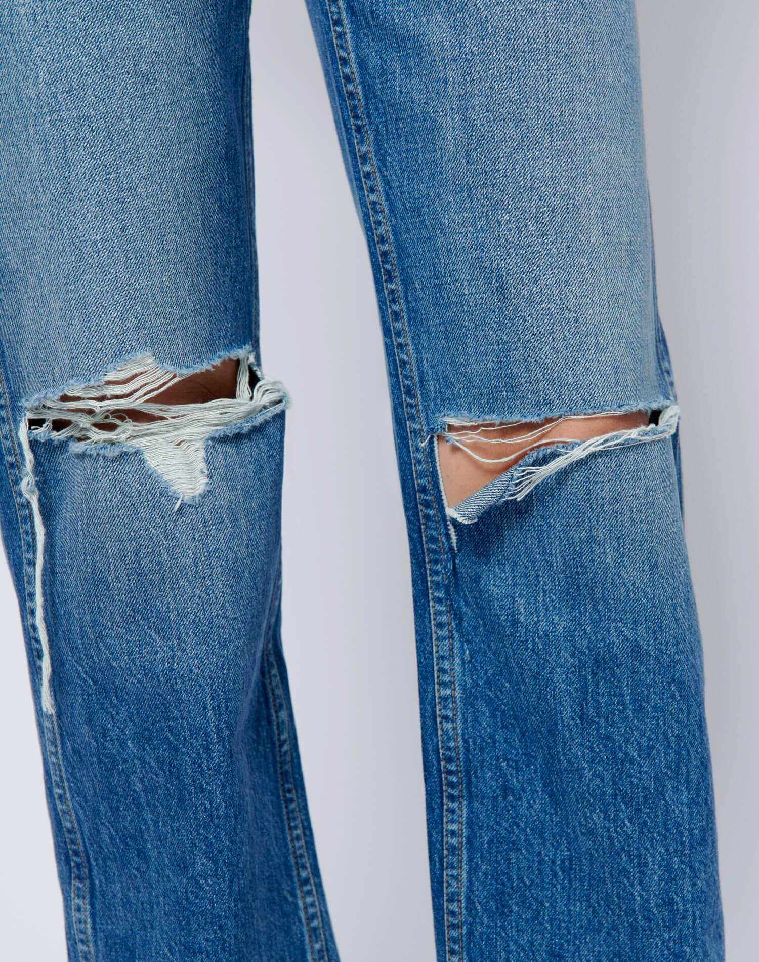 High Rise Loose - Washed Indigo with Rips 4