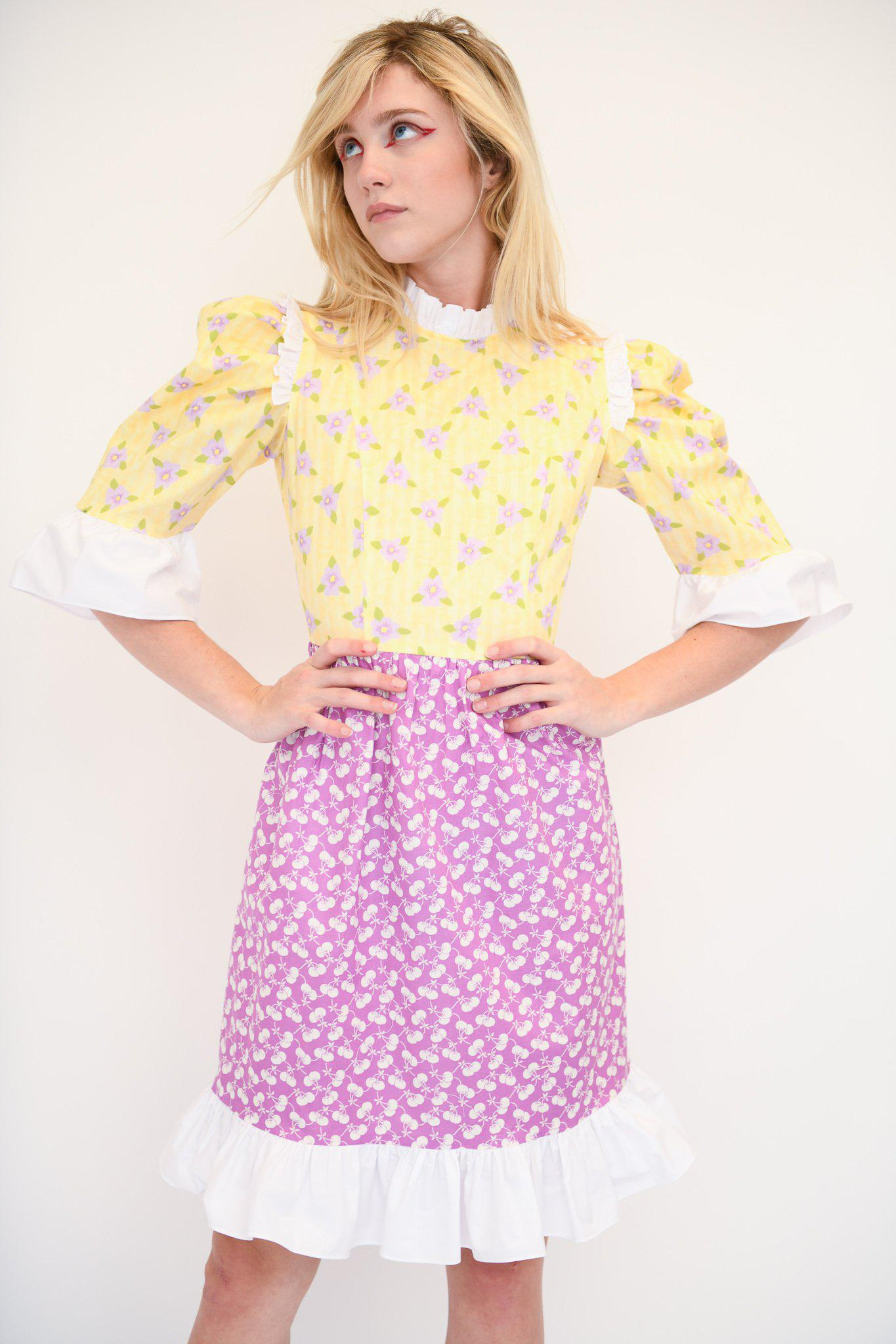 Spring Prairie Dress in Vintage Yellow and Purple Fabric 1