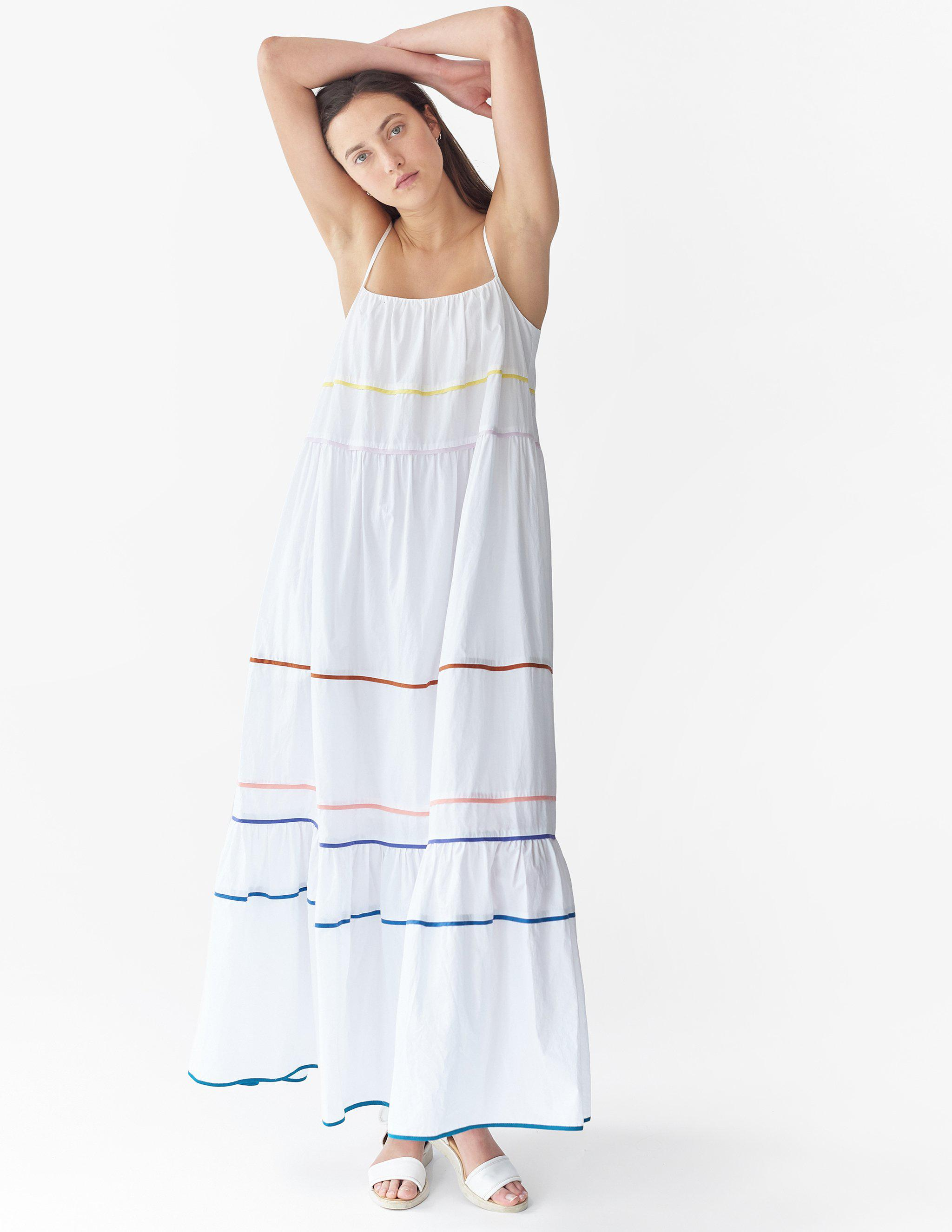 Zoelle Dress White with Multi-Piping