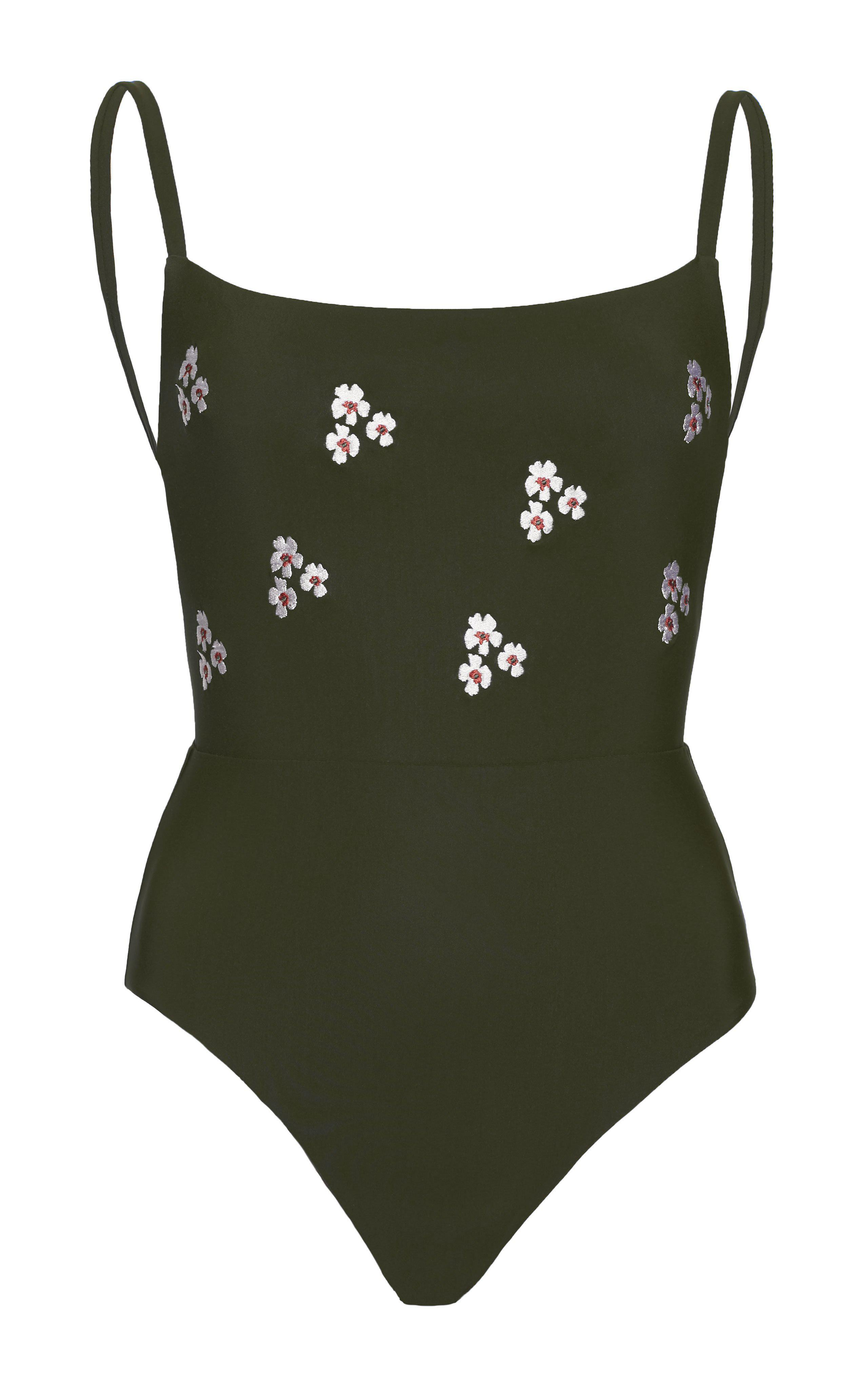 The Square Neck One Piece with Floral Embroidery