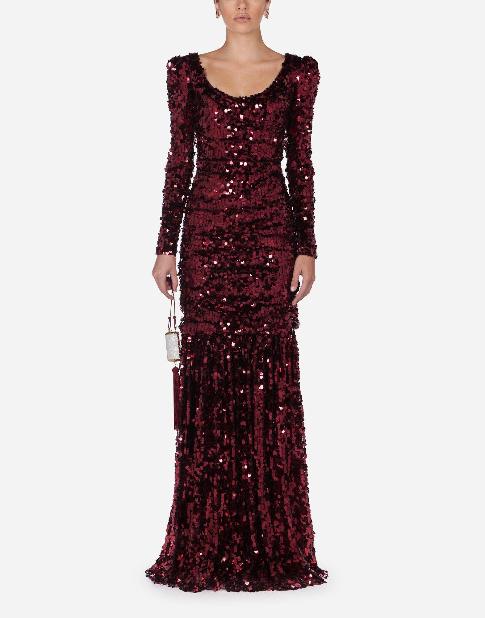 Long-sleeved dress with sequined sleeves