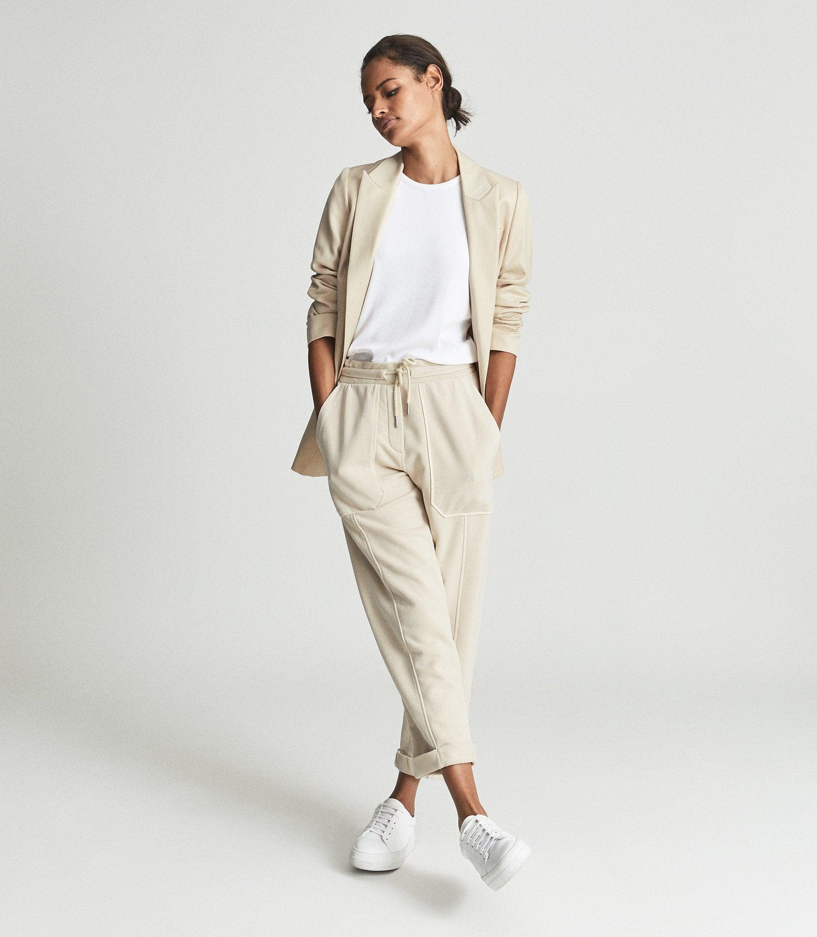 NELL - DRAWSTRING WAIST CROPPED JERSEY JOGGERS