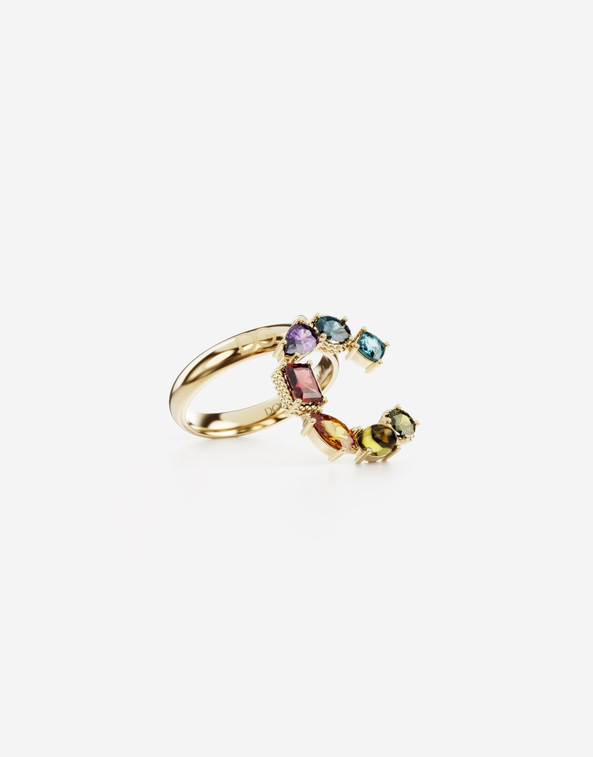 Rainbow alphabet C ring in yellow gold with multicolor fine gems 1