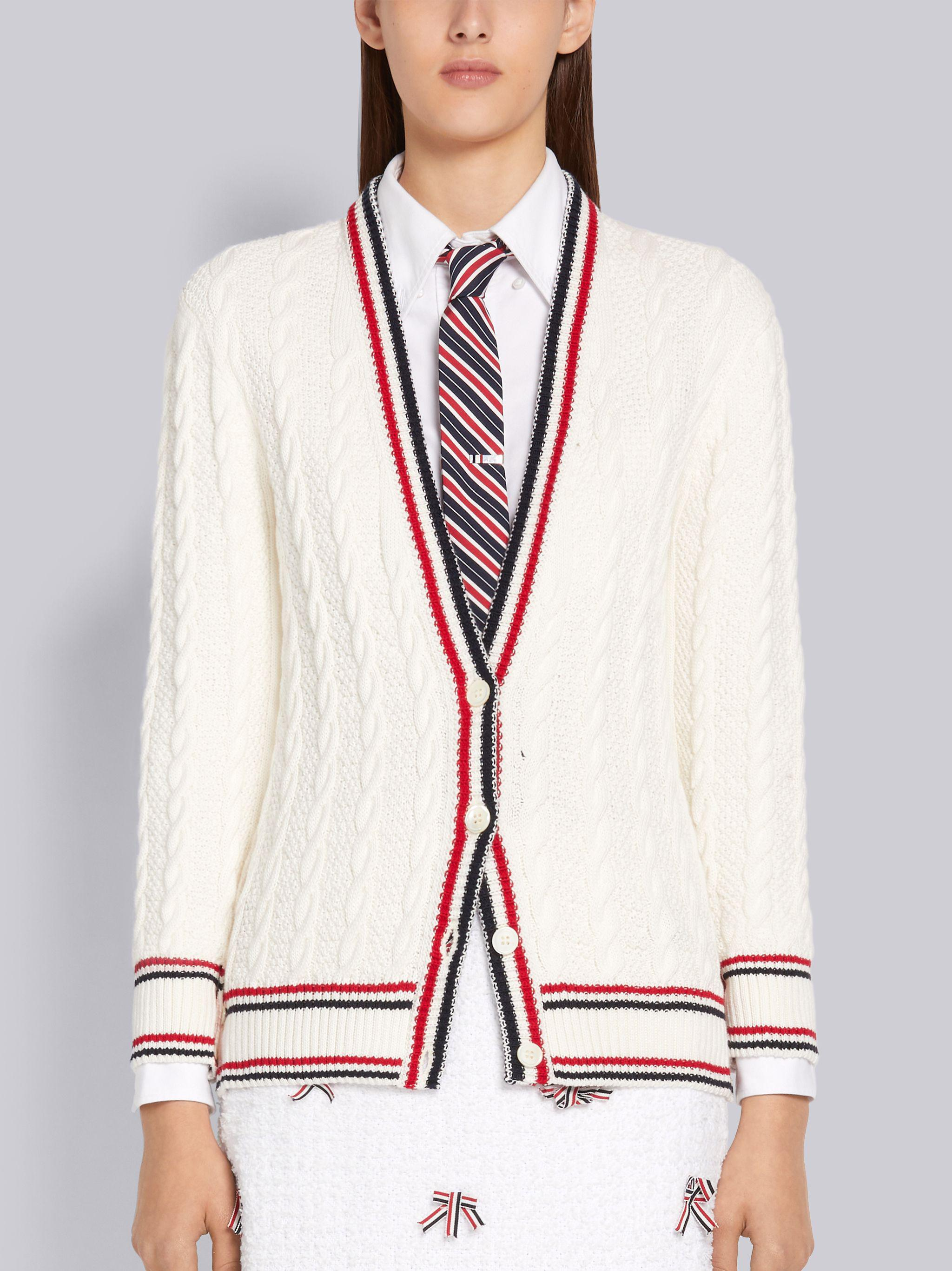 White Cotton Heritage Cable Striped Relaxed Fit V-Neck Cardigan