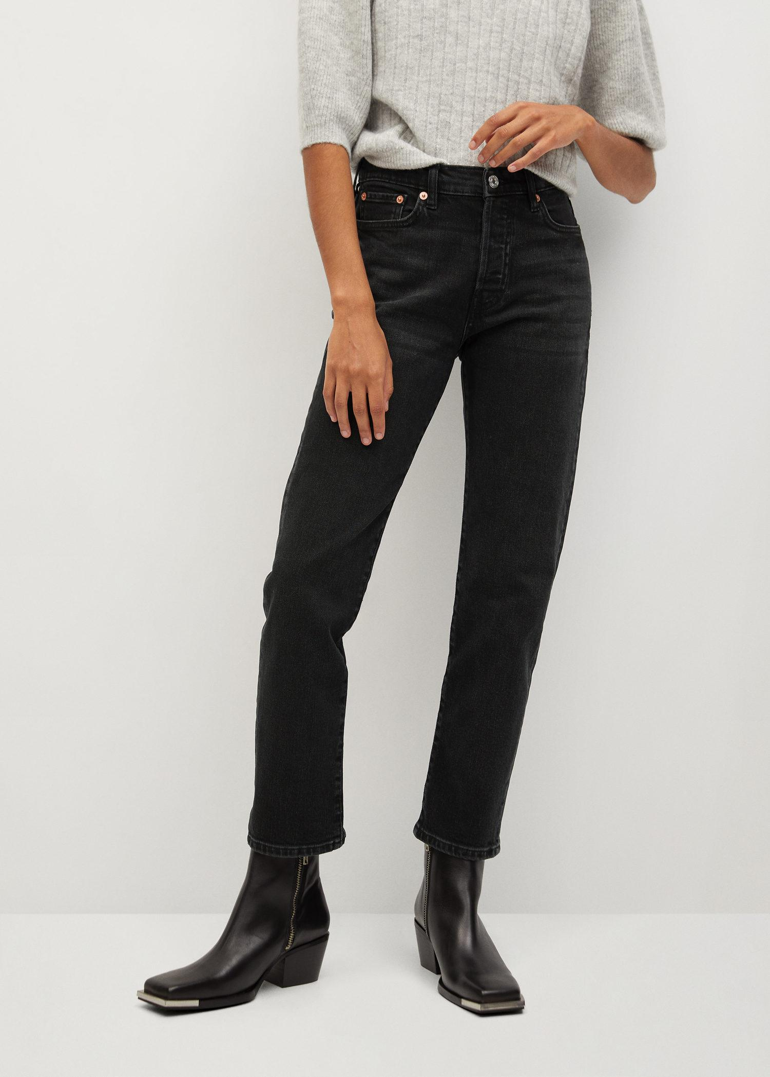 Ankle-length straight-fit jeans