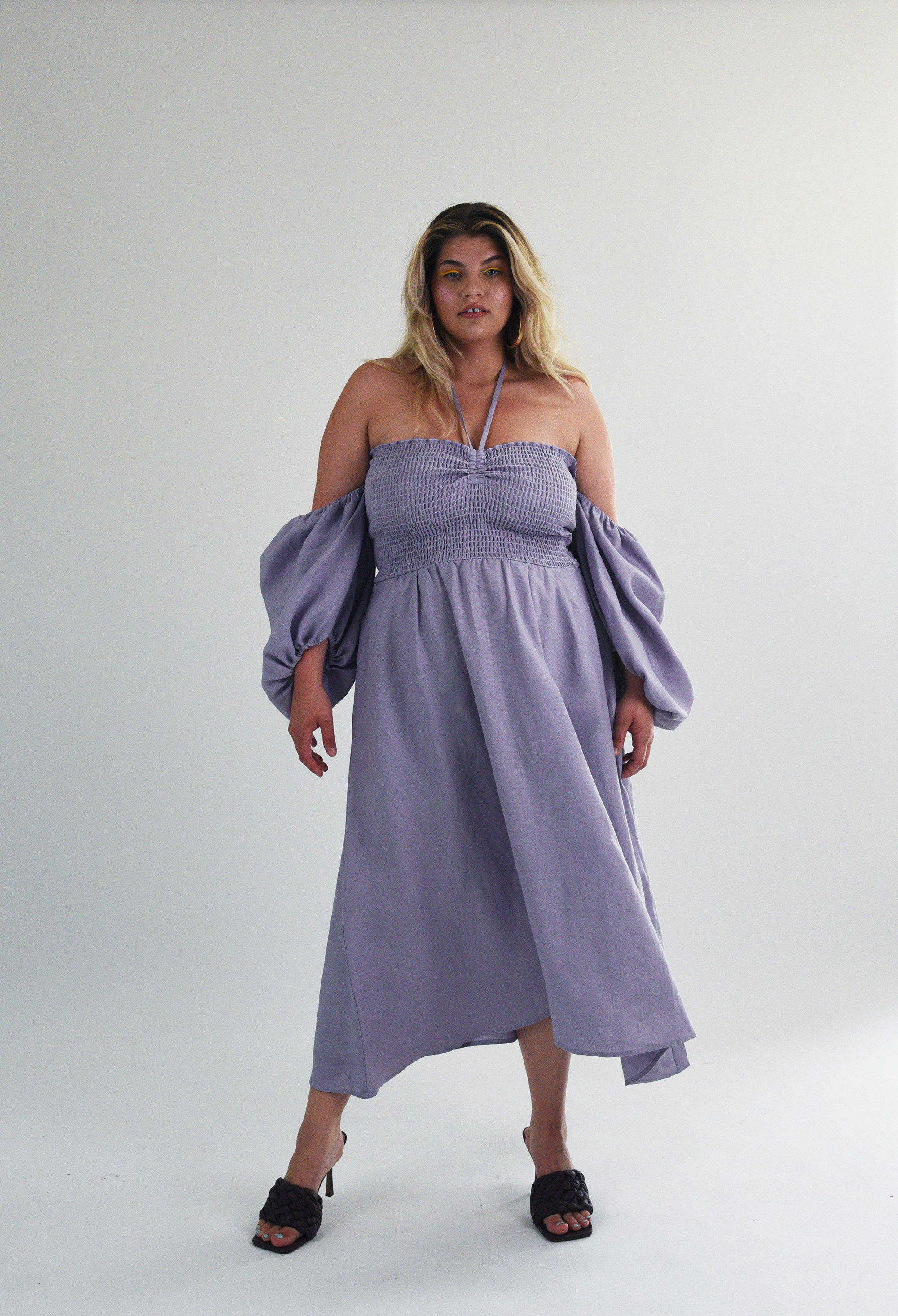 The Colette Dress in Lilac Linen 2