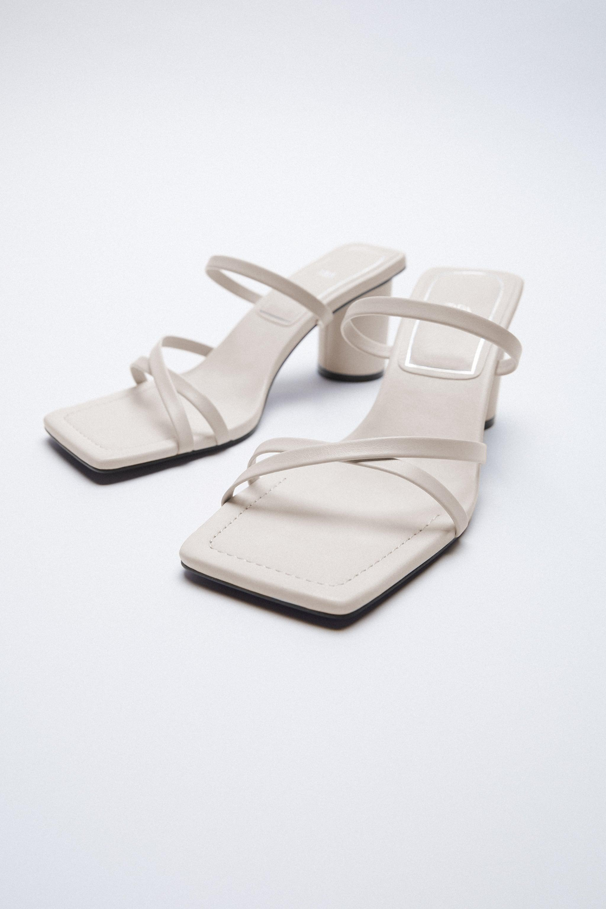HEELED LEATHER SQUARE TOE SANDALS 3