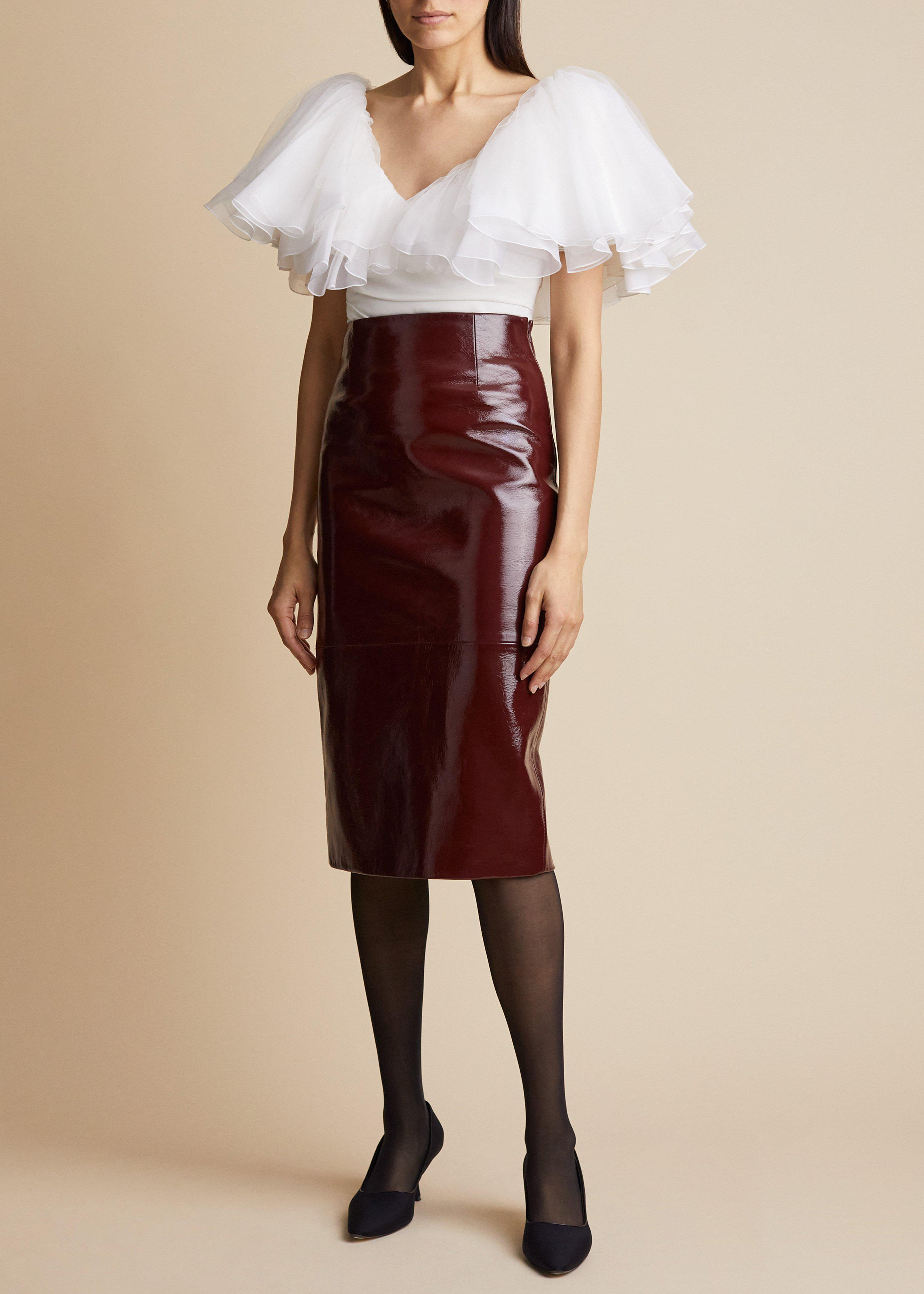 The May Skirt in Bordeaux Patent Leather