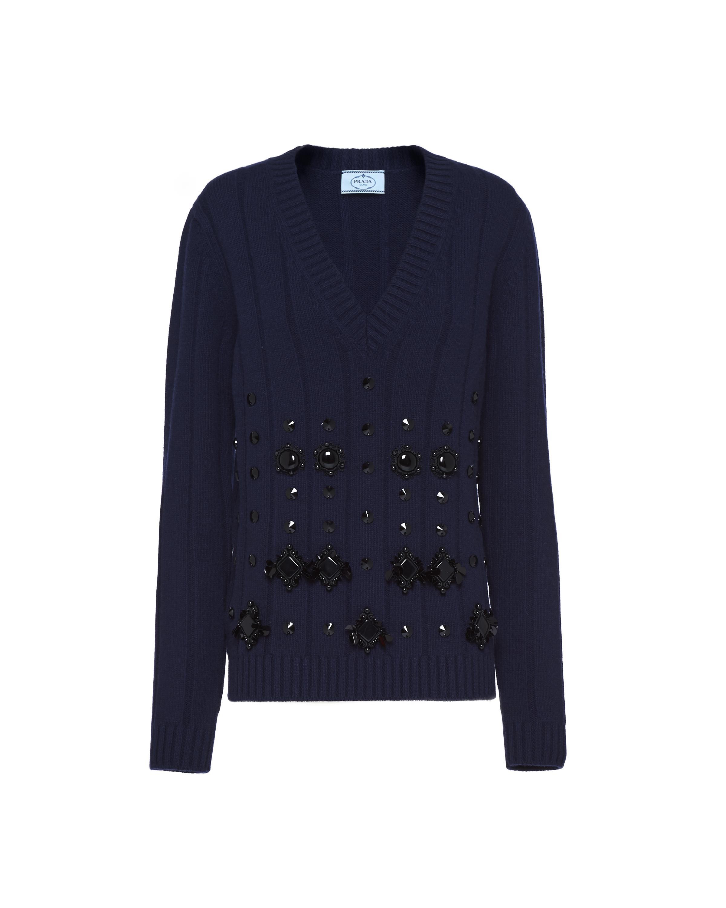 Wool And Cashmere V-neck Sweater Women Navy 5