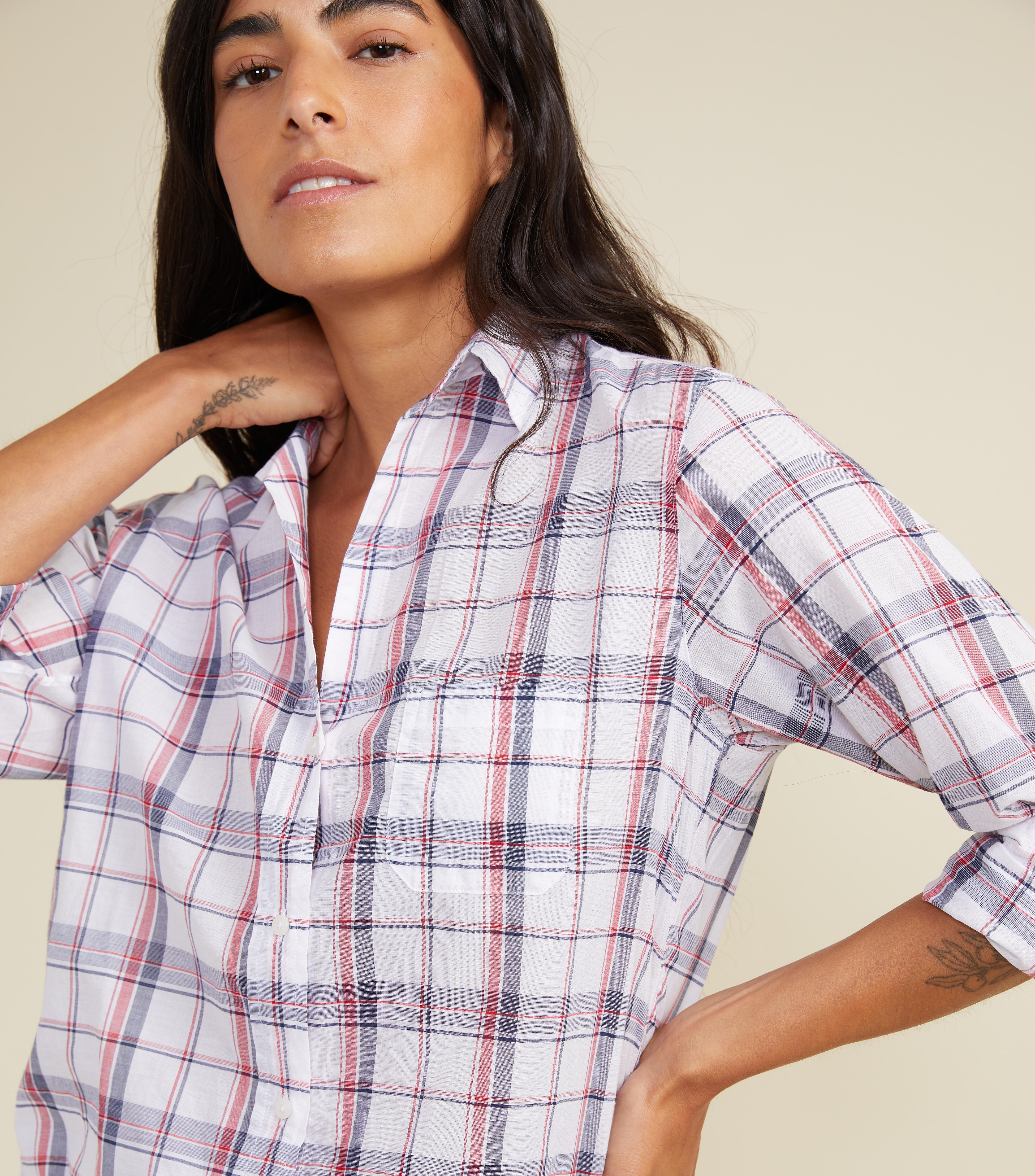 The Hero White with Navy and Red Plaid, Tissue Cotton Final Sale 1