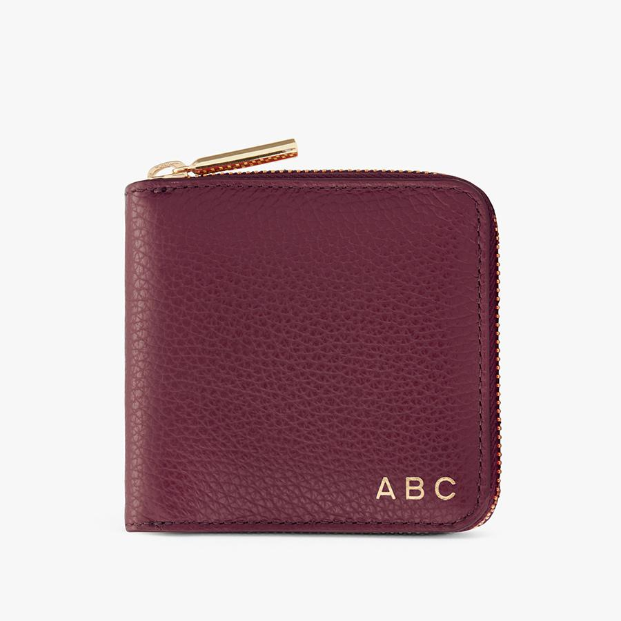 Women's Small Classic Zip Around Wallet in Merlot | Pebbled Leather by Cuyana 3