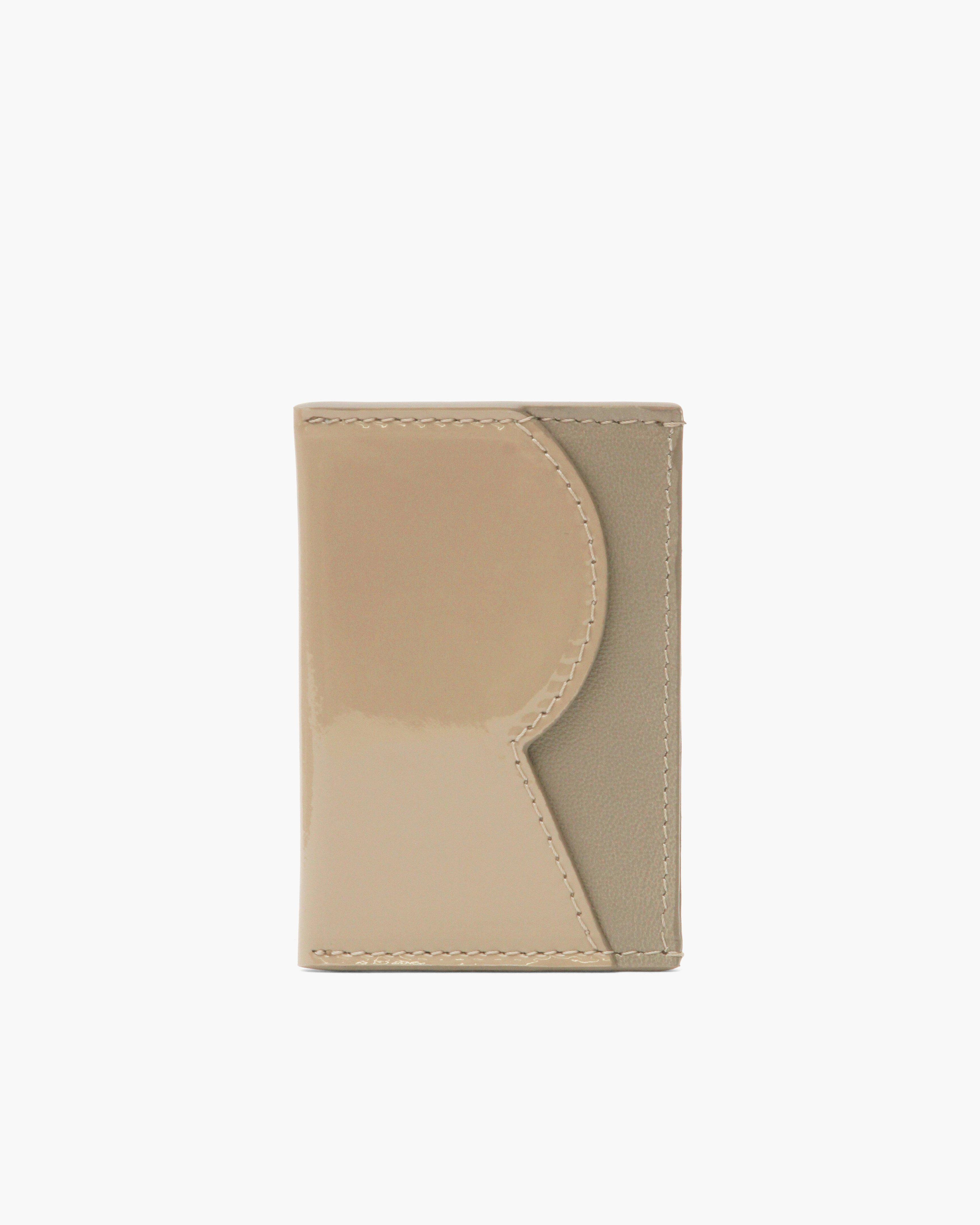 RP Card Holder Leather Patent Beige + Nappa Taupe