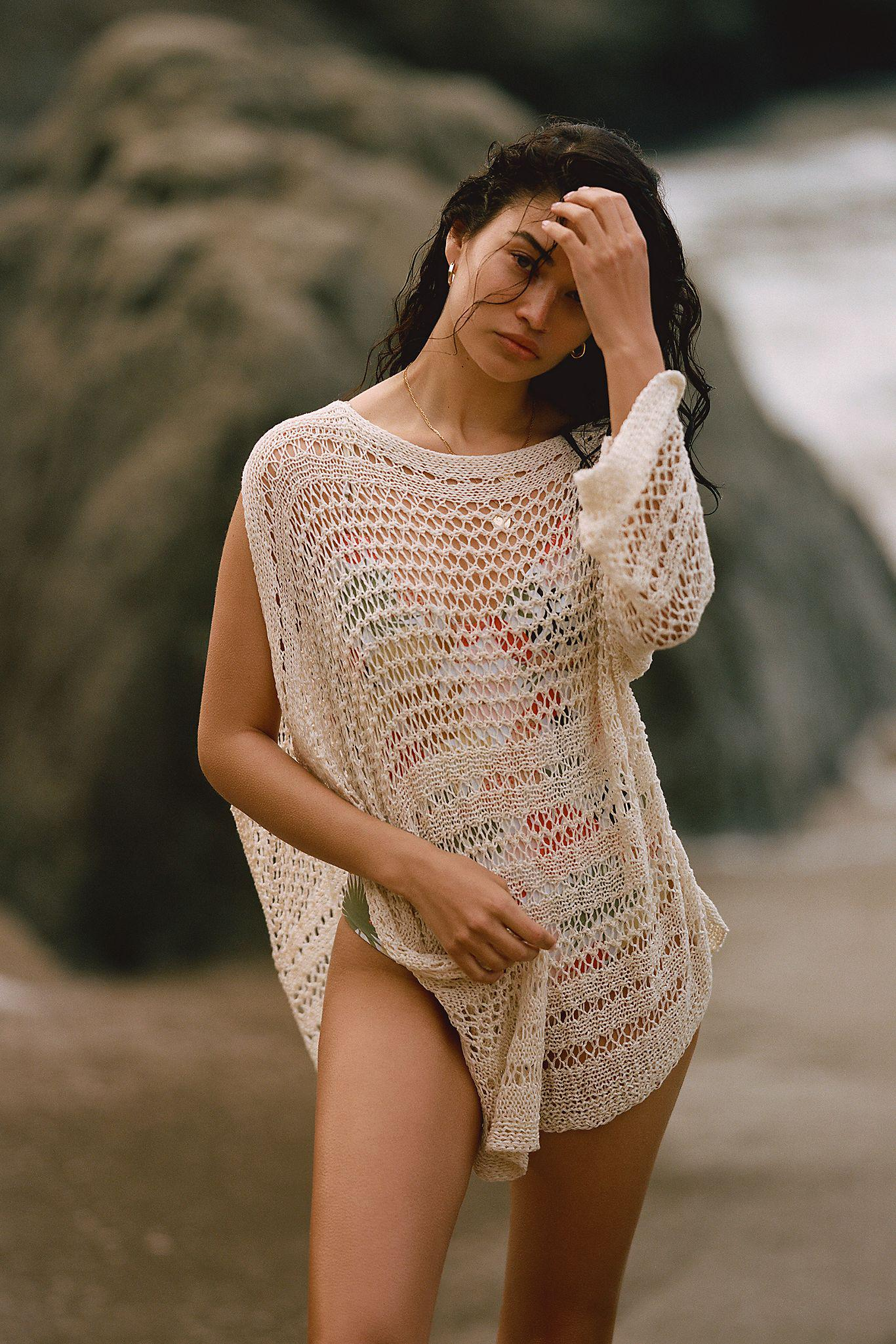 Woven One-Shoulder Poncho