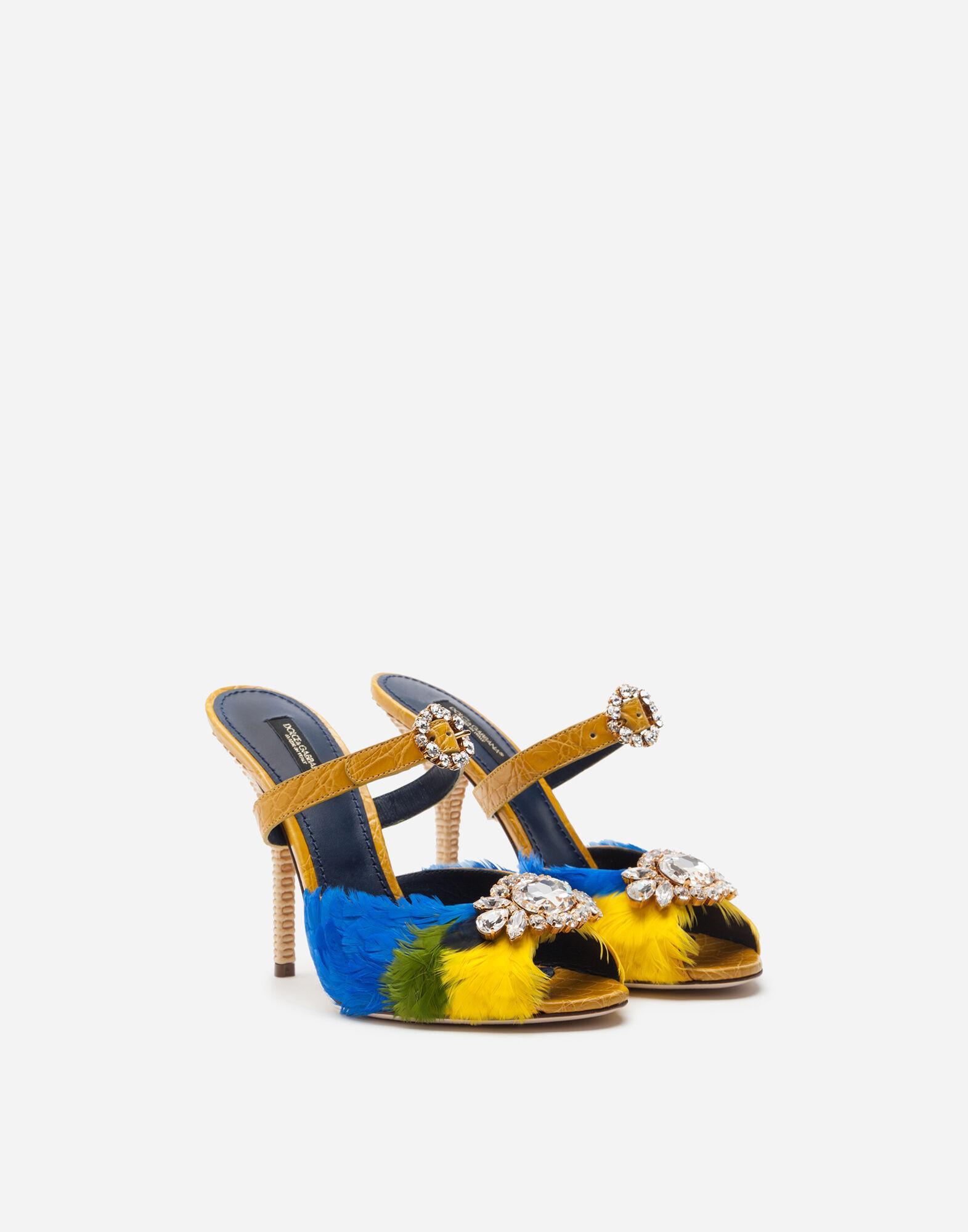 Crocodile flank leather and feather mules with jewel embroidery 1
