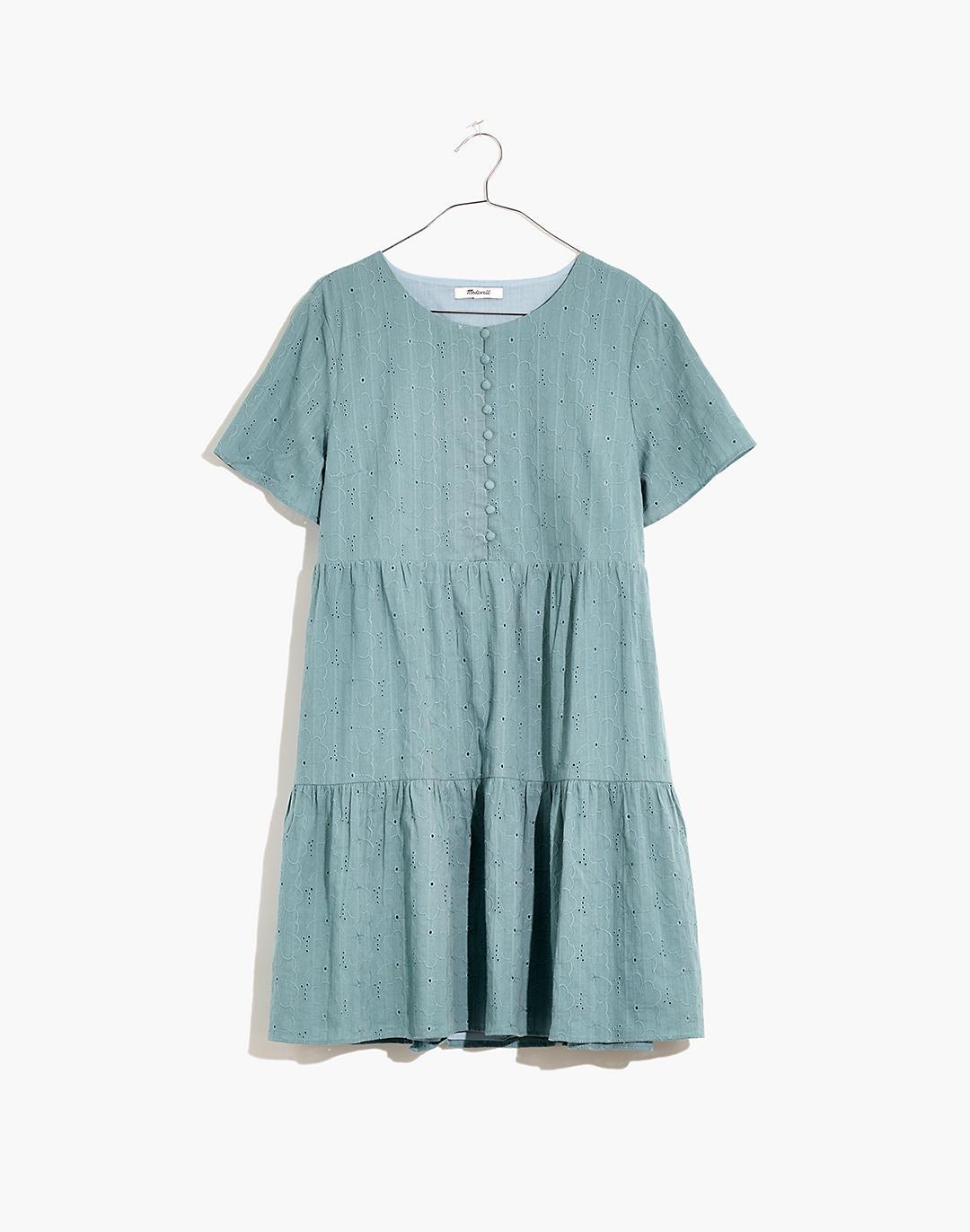 Petite Embroidered Eyelet Button-Front Tiered Mini Dress 3