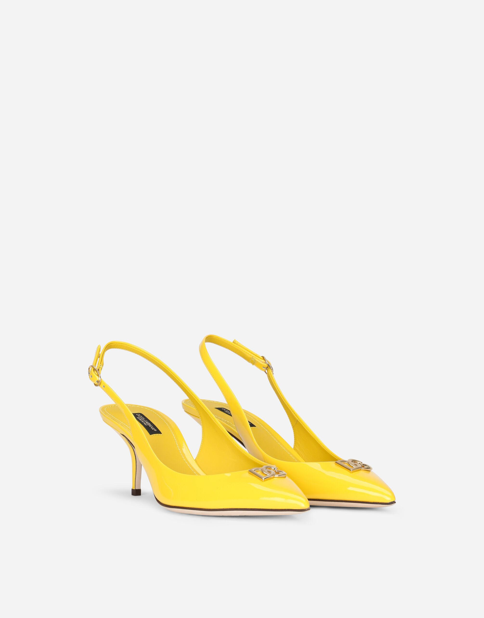 Patent leather slingbacks with DG logo 1
