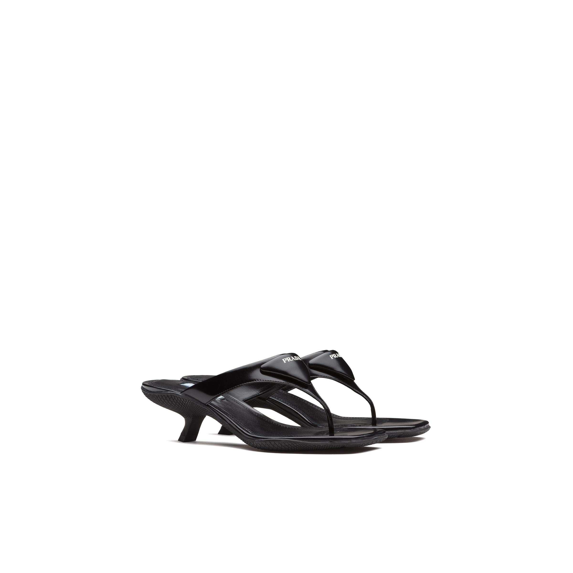Brushed Leather High-heeled Thong Sandals Women Black
