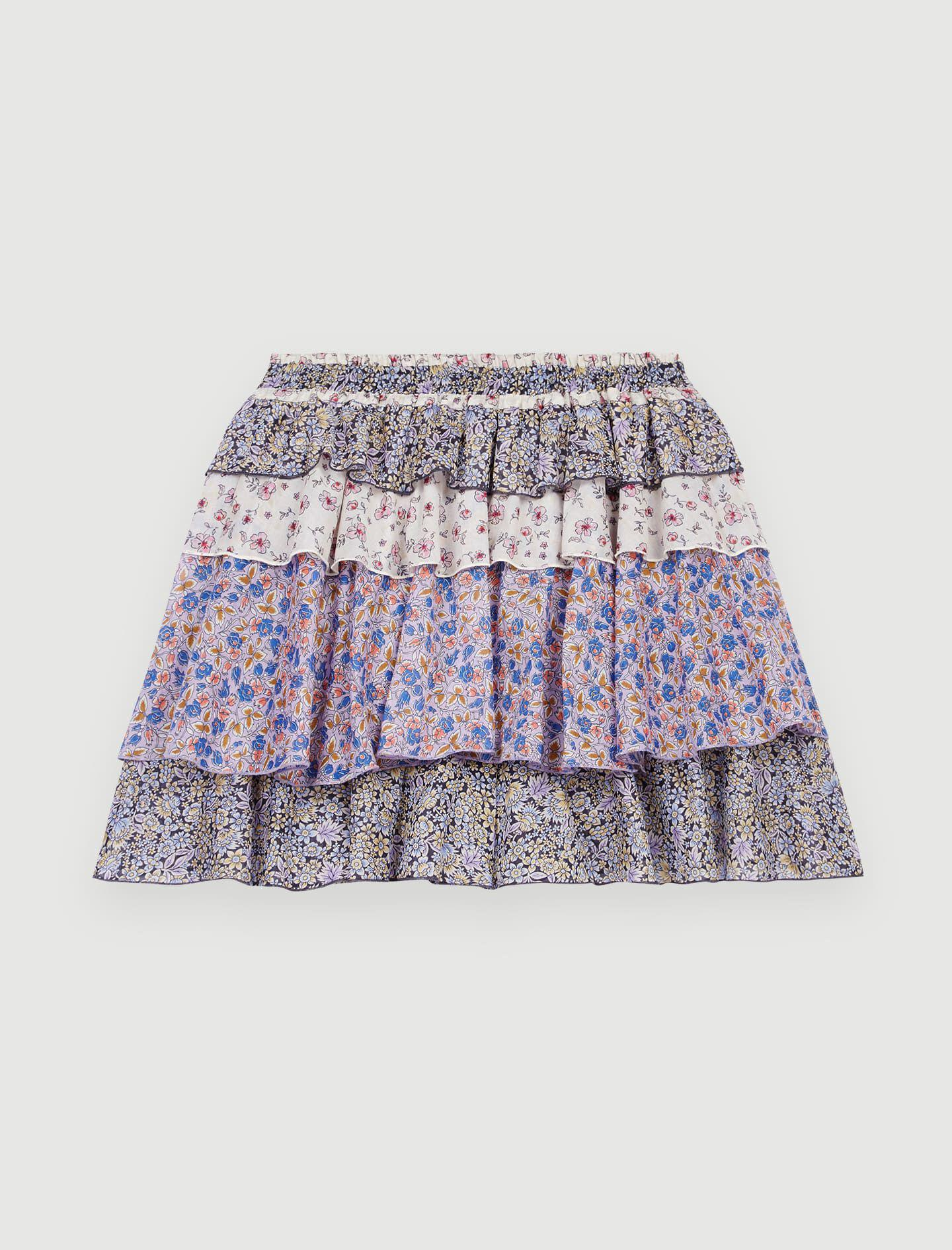 PRINTED COTTON VOILE SKIRT WITH RUFFLES 4