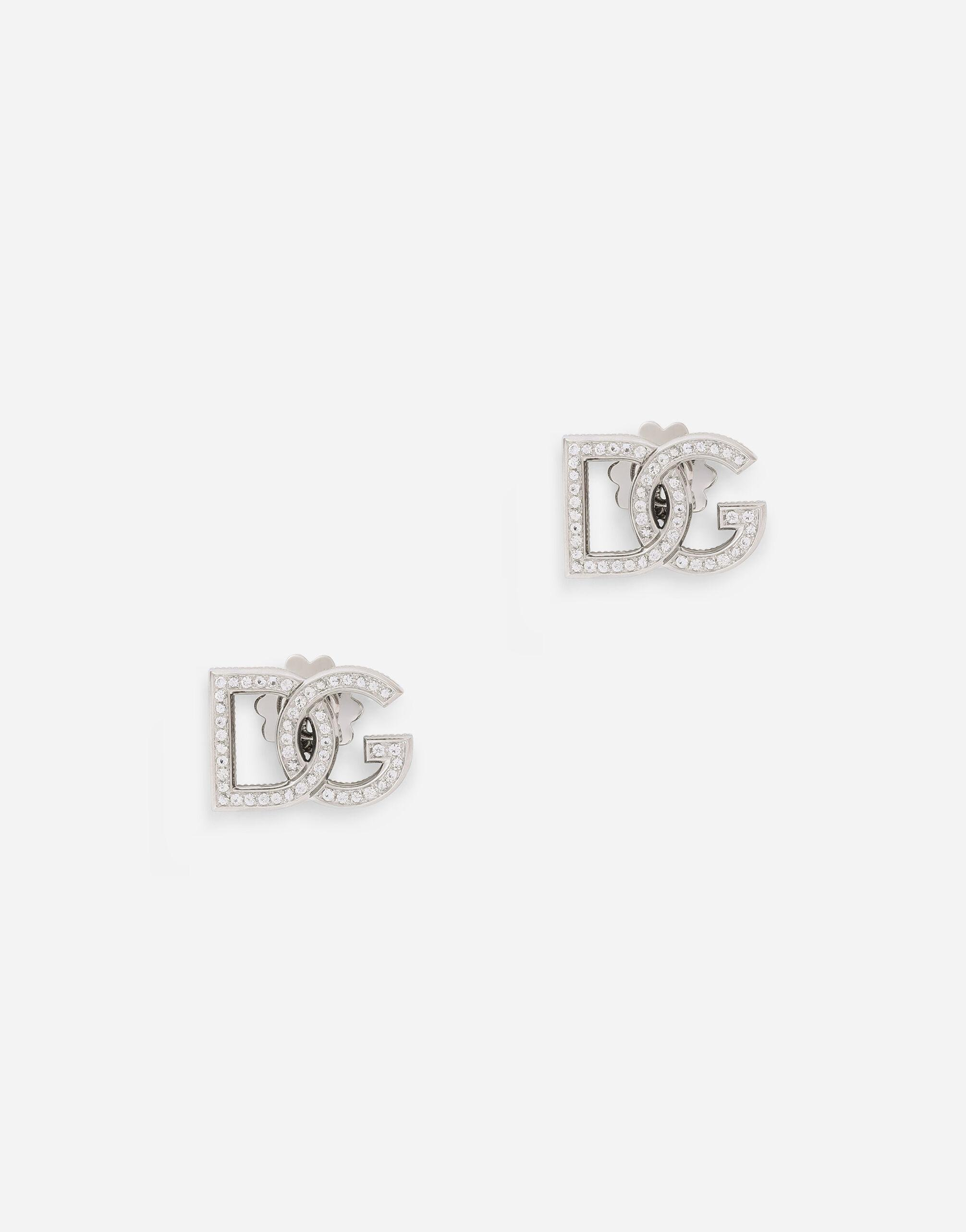 Logo earrings in white 18kt gold with colourless sapphires