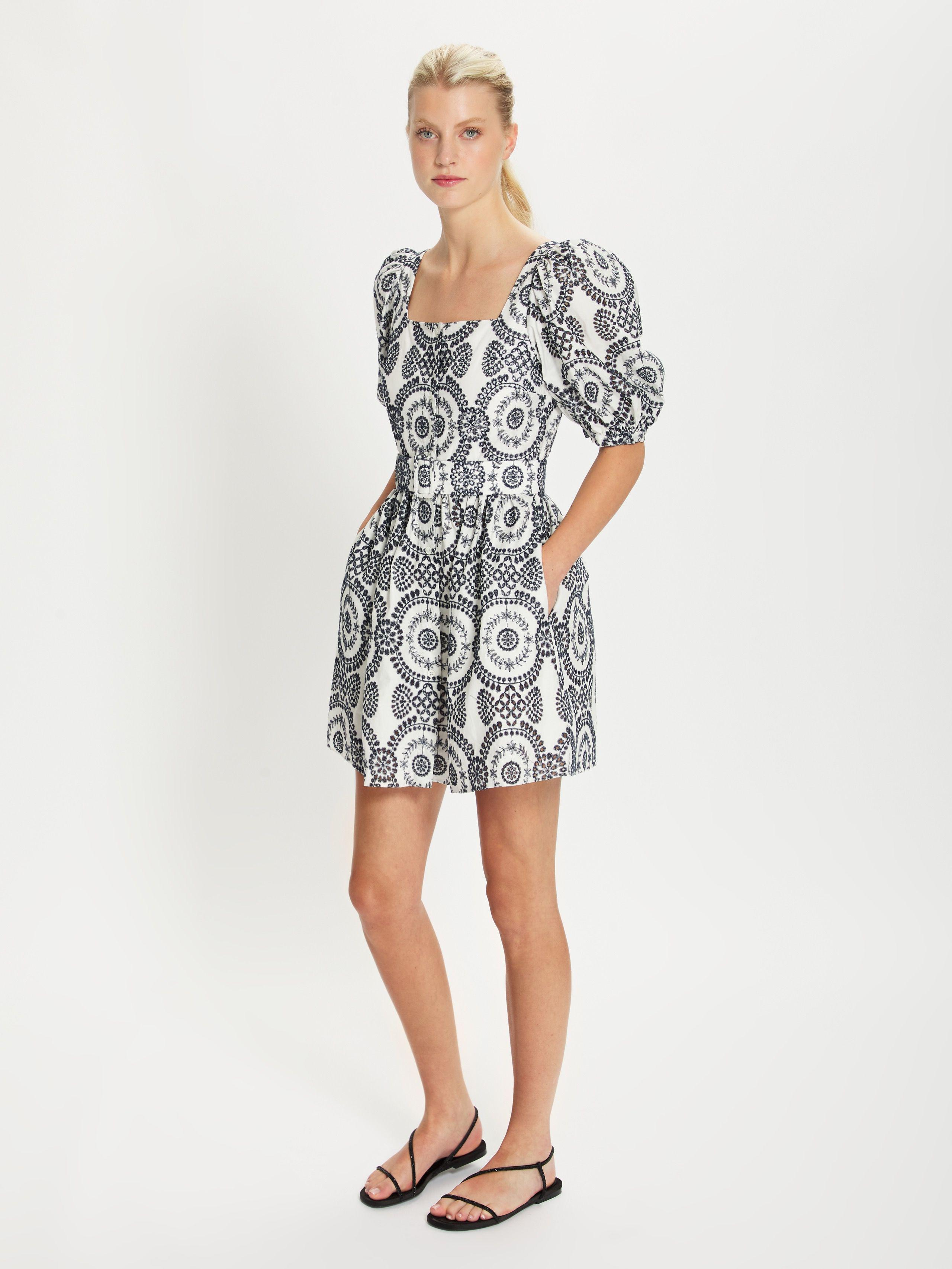DOMINIQUE NAVY AND WHITE BRODERIE ANGLAISE MINI DRESS