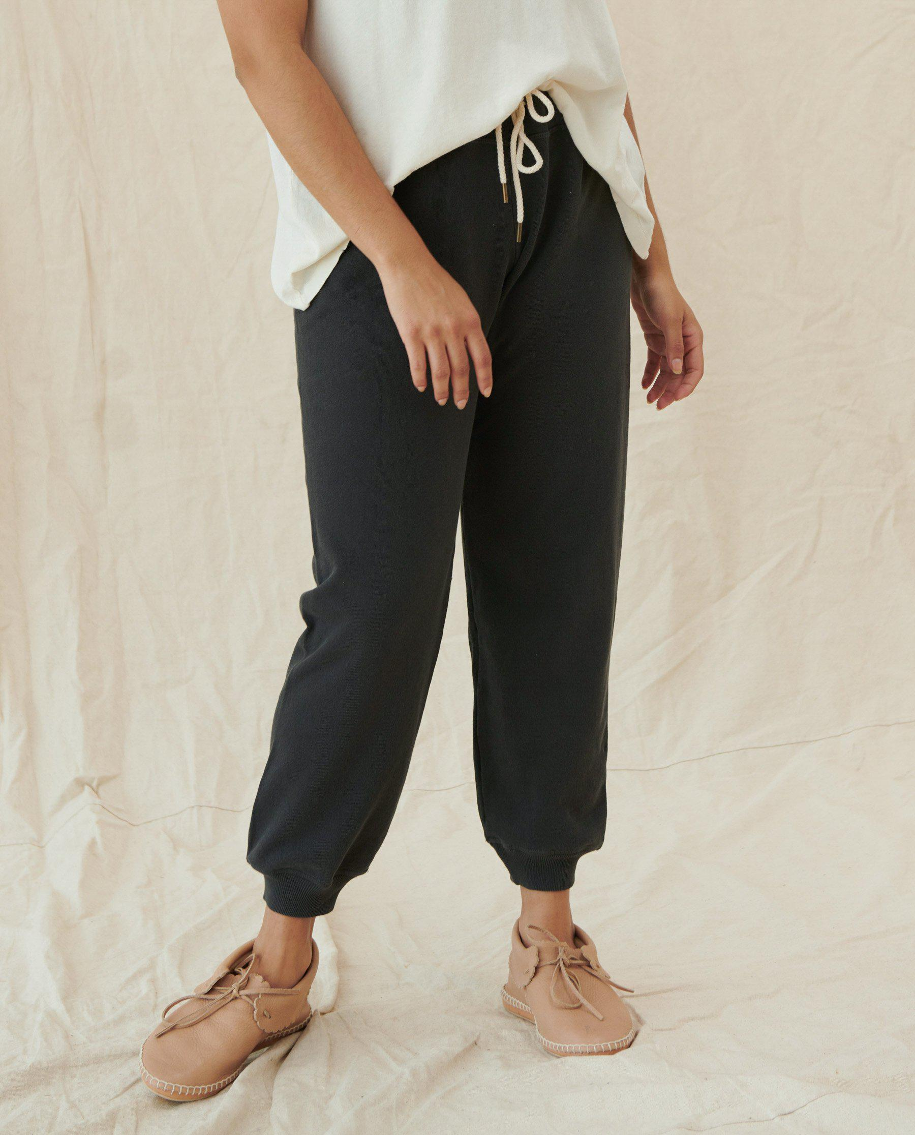 The Cropped Sweatpant. Solid -- Washed Black