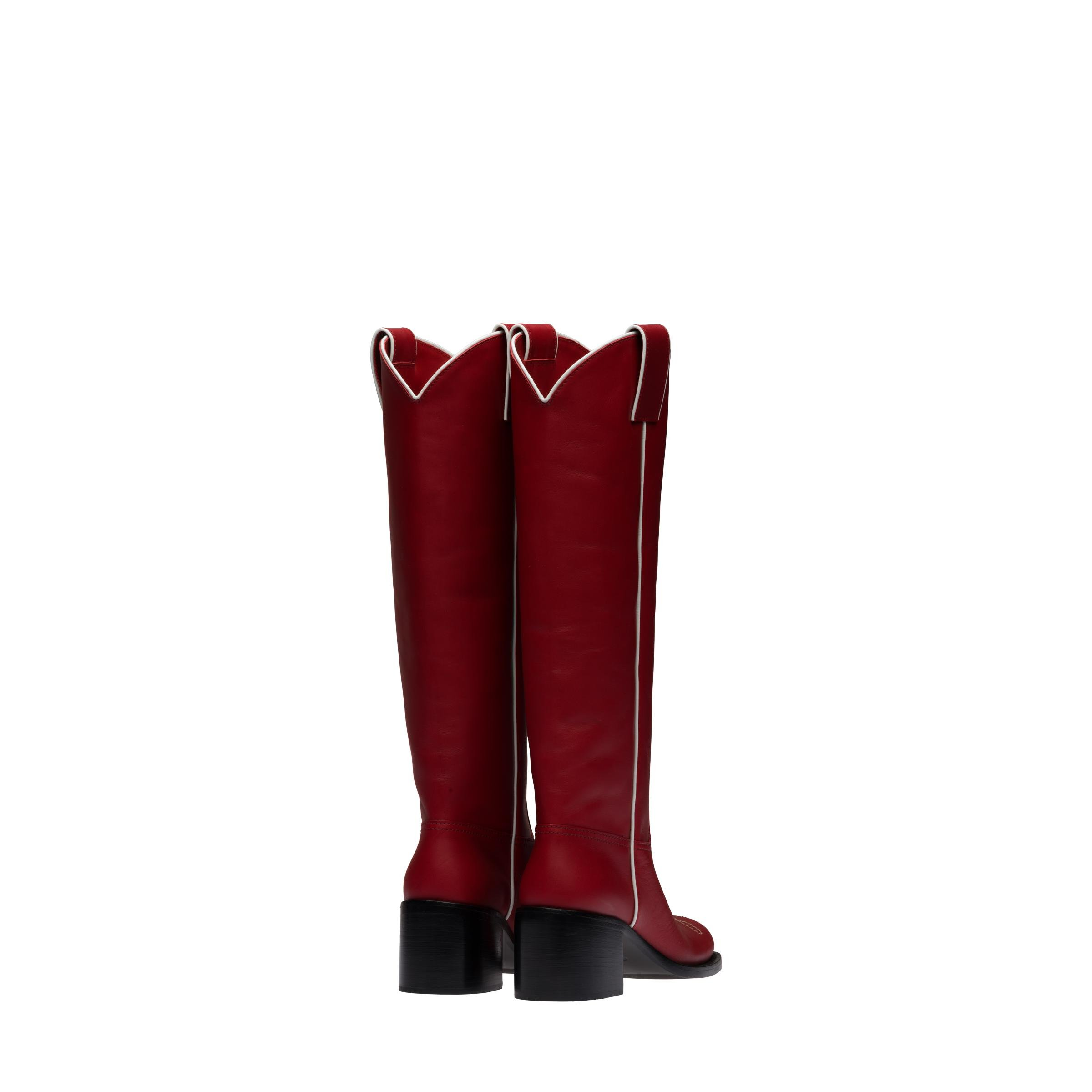 Leather Boots Women Ruby Red/white 2