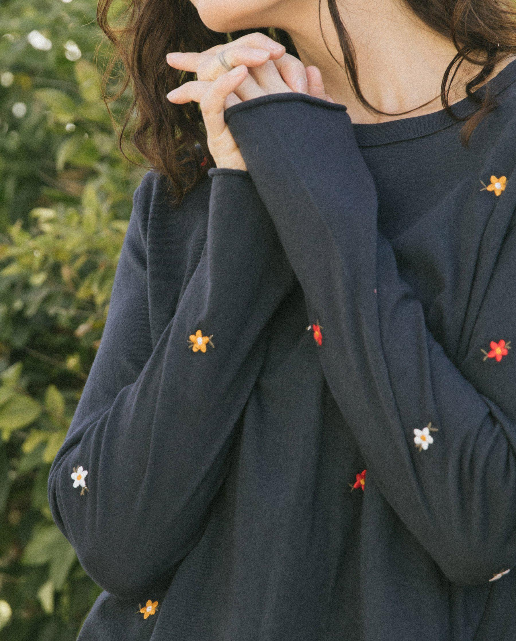 The Long Sleeve Crop Tee. -- Navy with Seed Floral Embroidery 3