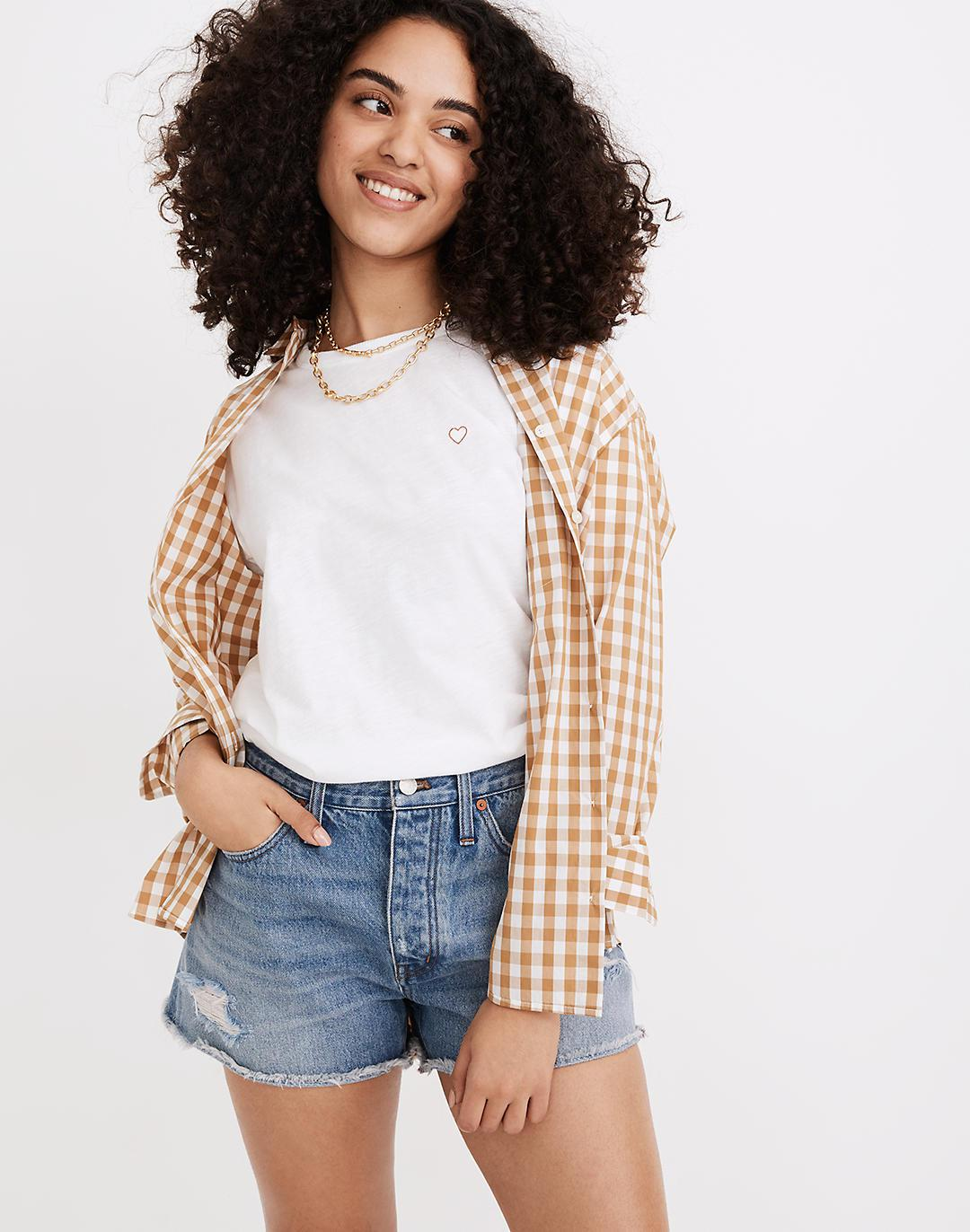 Curvy Relaxed Denim Shorts in Homecrest Wash: Ripped Edition