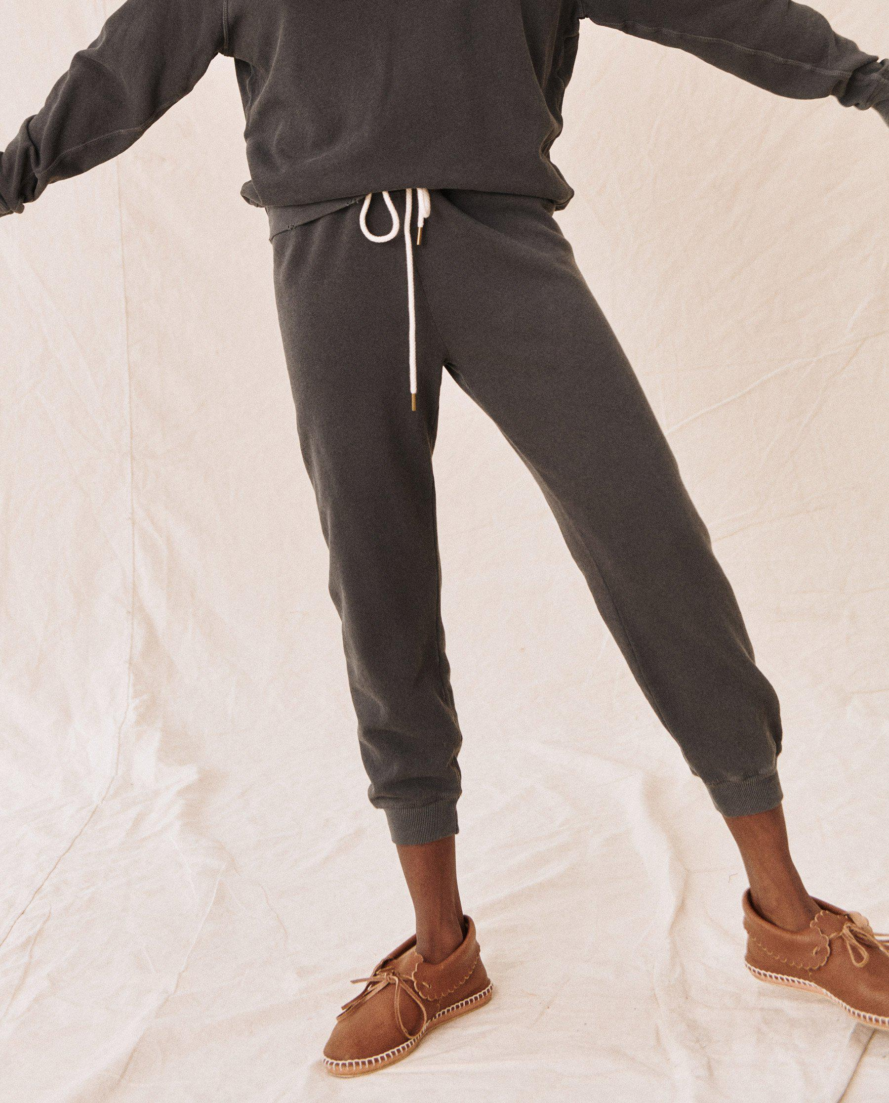 The Cropped Sweatpant. Solid -- Washed Black 1