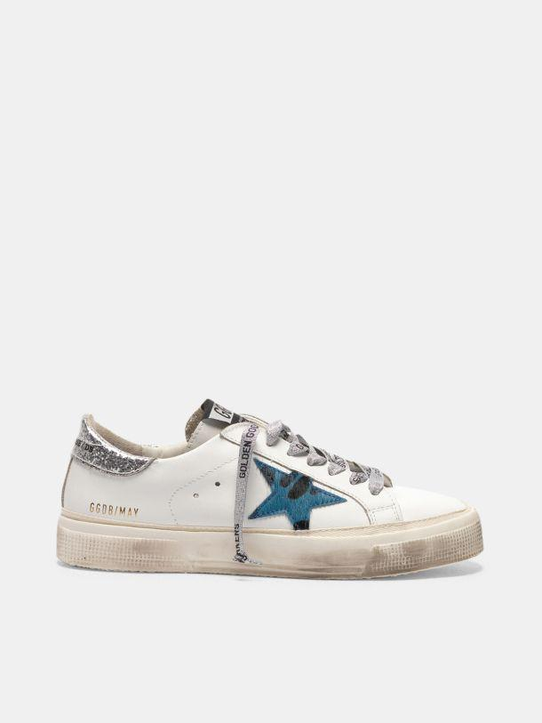 May sneakers with animal print star and glitter heel tab
