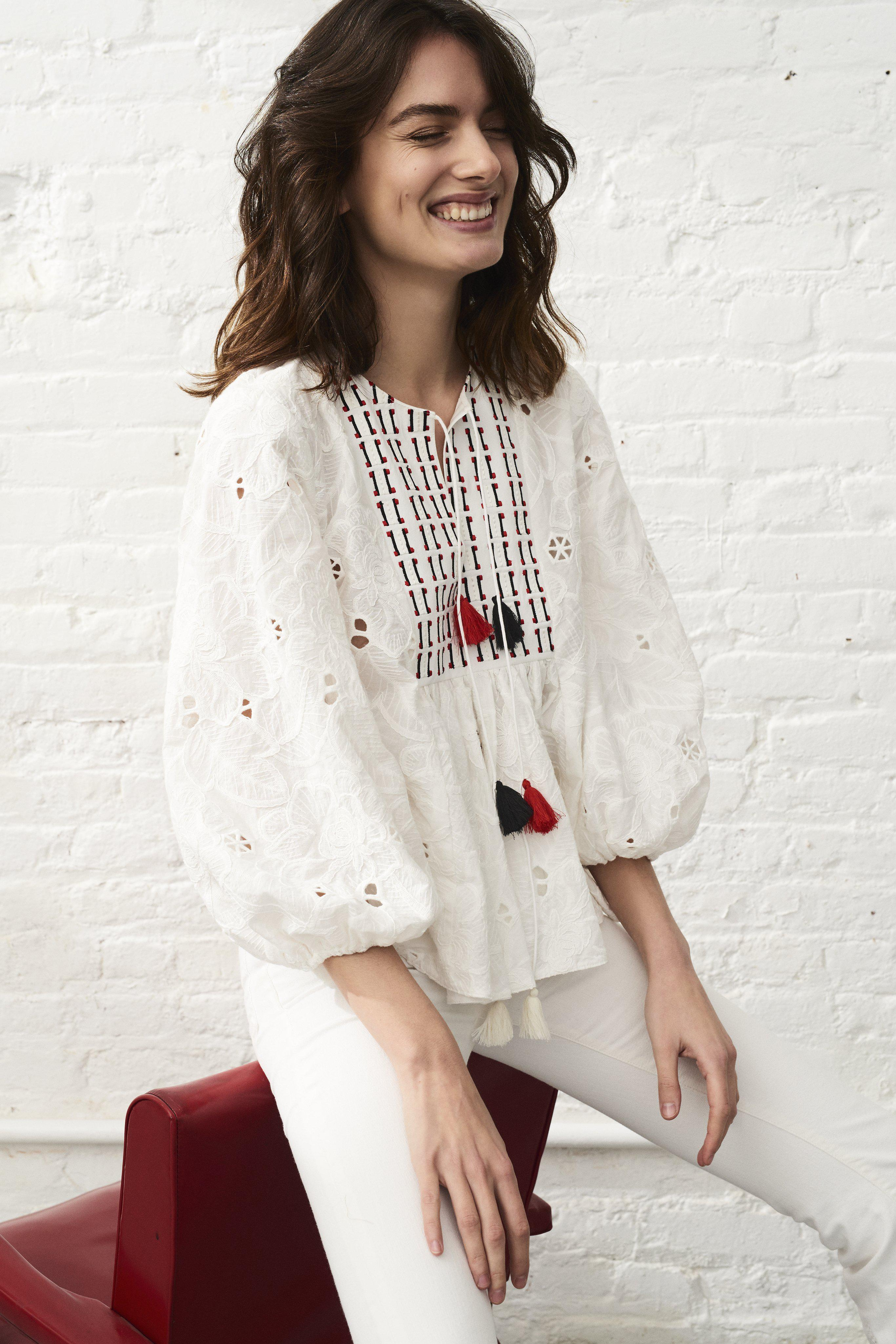 Chelsea Blouse - Ivory Floral Embroidered Cotton