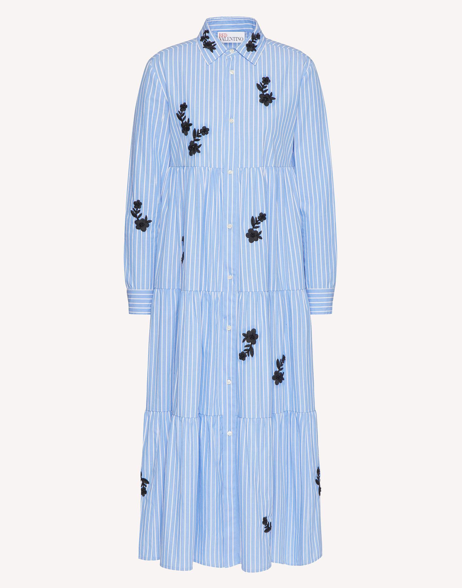STRIPED COTTON DRESS WITH FLORAL EMBROIDERY 4