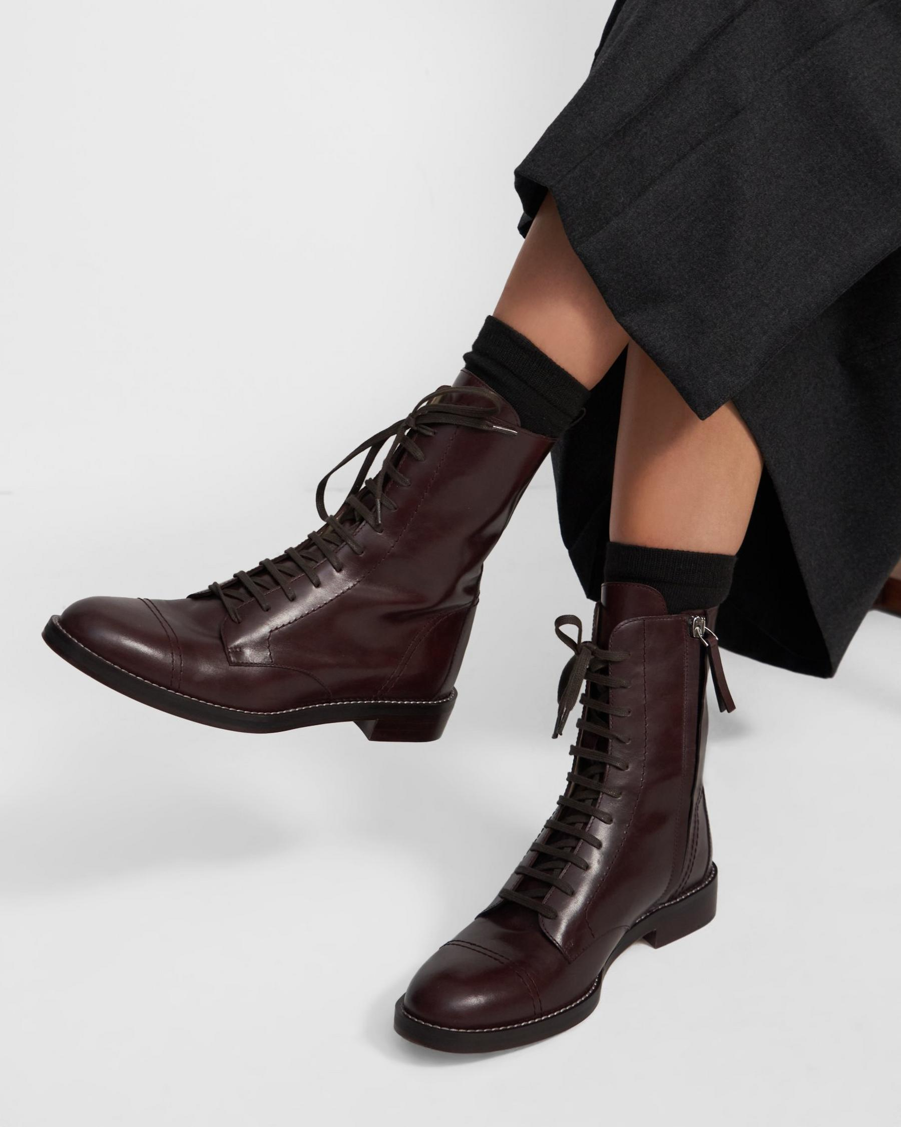 Laced Boot in Leather