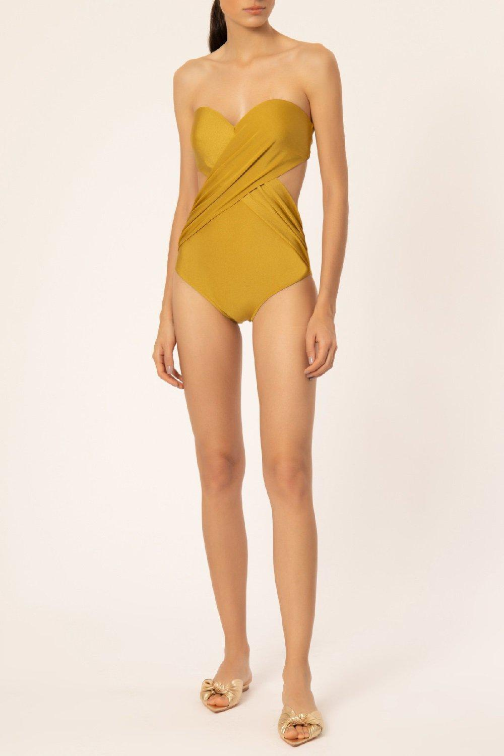 Solid Strapless Swimsuit With Cut-outs
