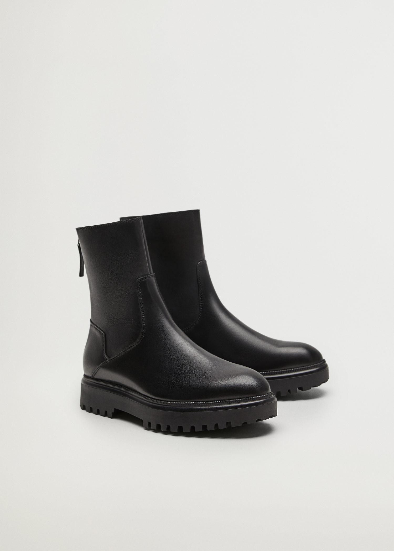 Leather boots with track sole 1