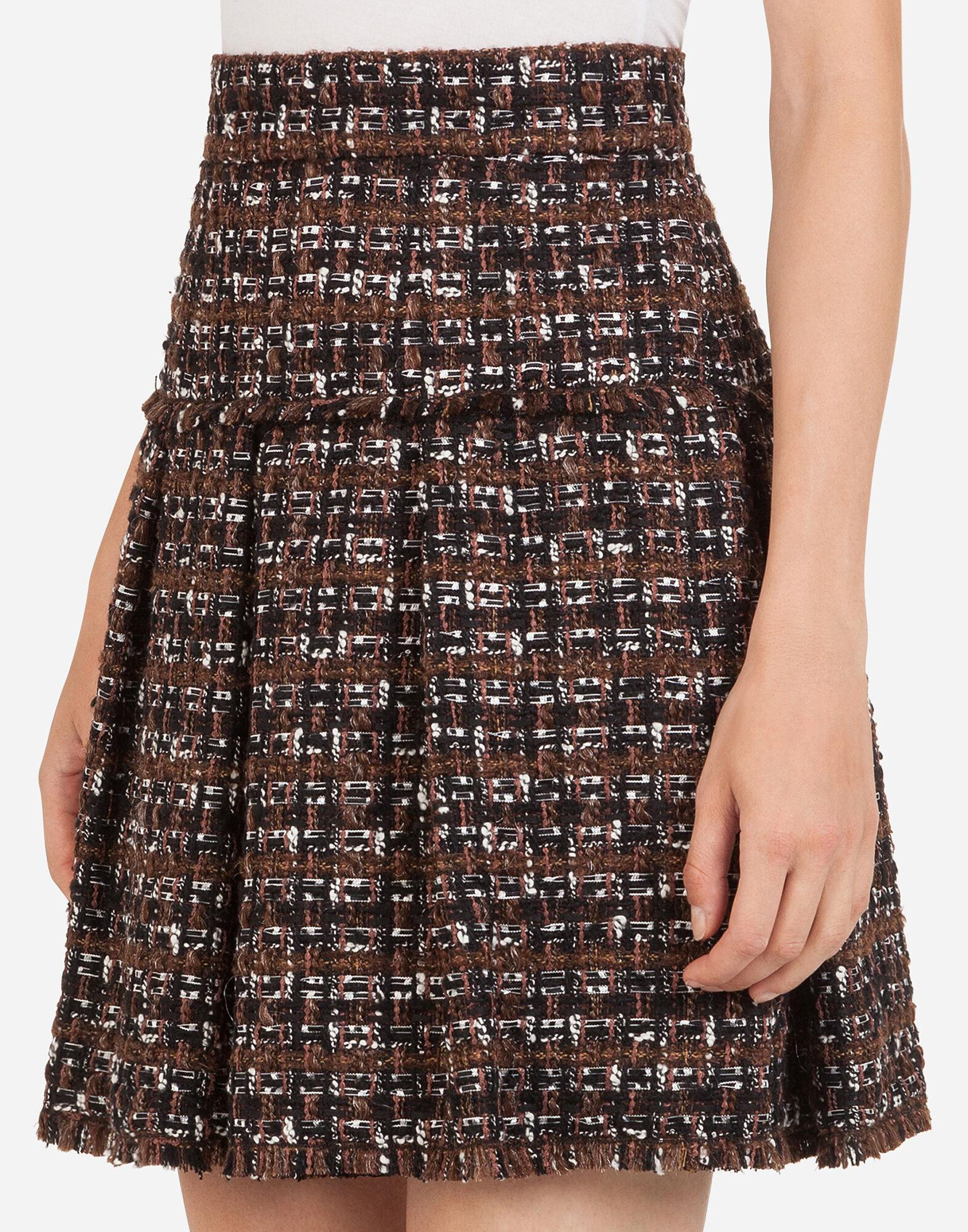 Short tweed circle skirt with flounce detailing 2