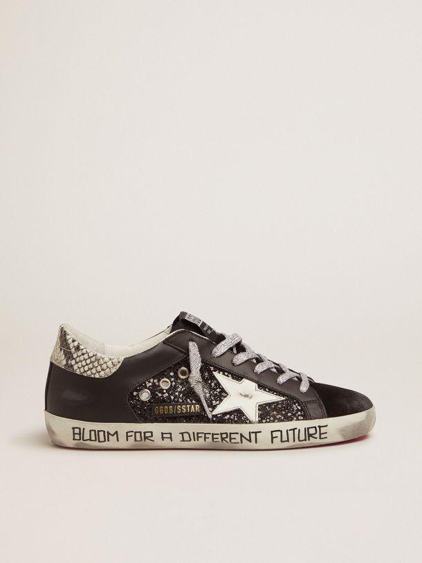 Super-Star sneakers with glitter and handwritten lettering