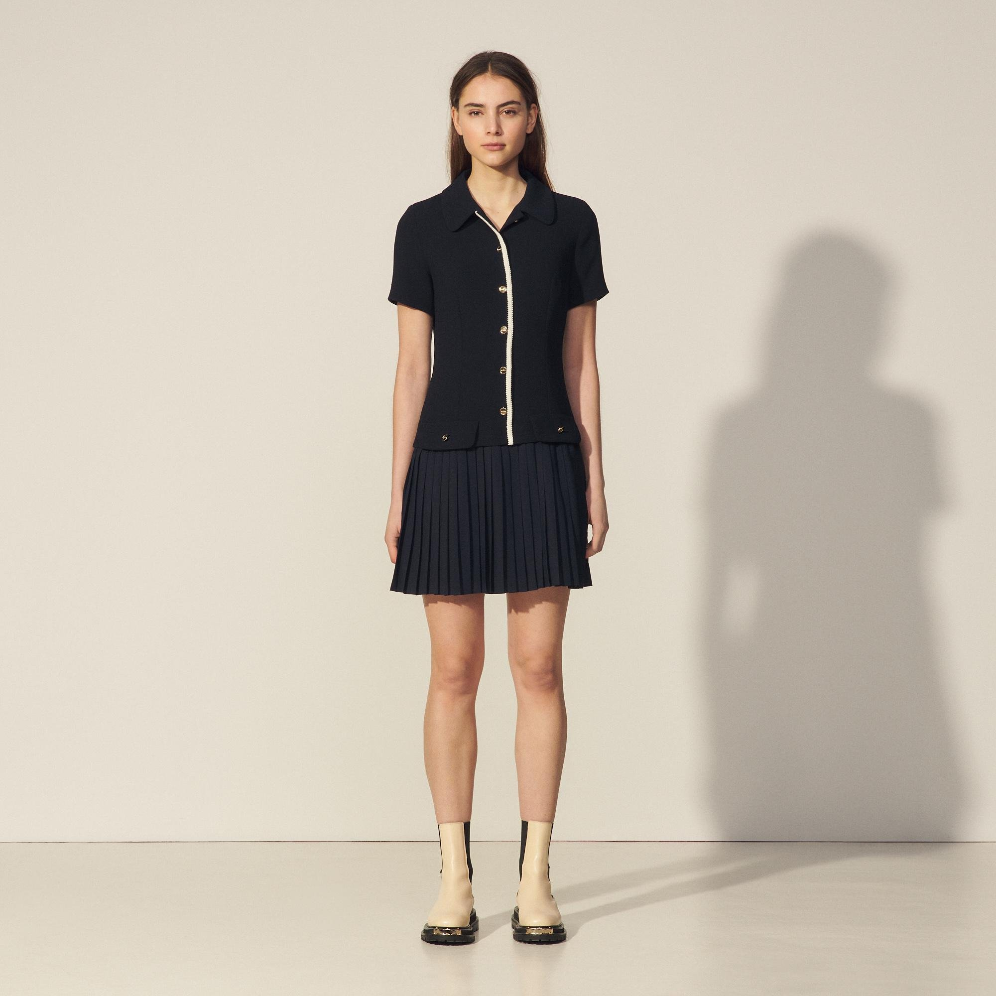 Mixed material pleated dress 3