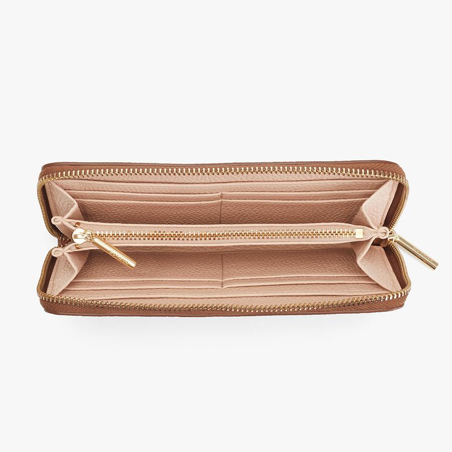Women's Classic Zip Around Wallet in Caramel/Blush Pink   Pebbled Leather by Cuyana 1