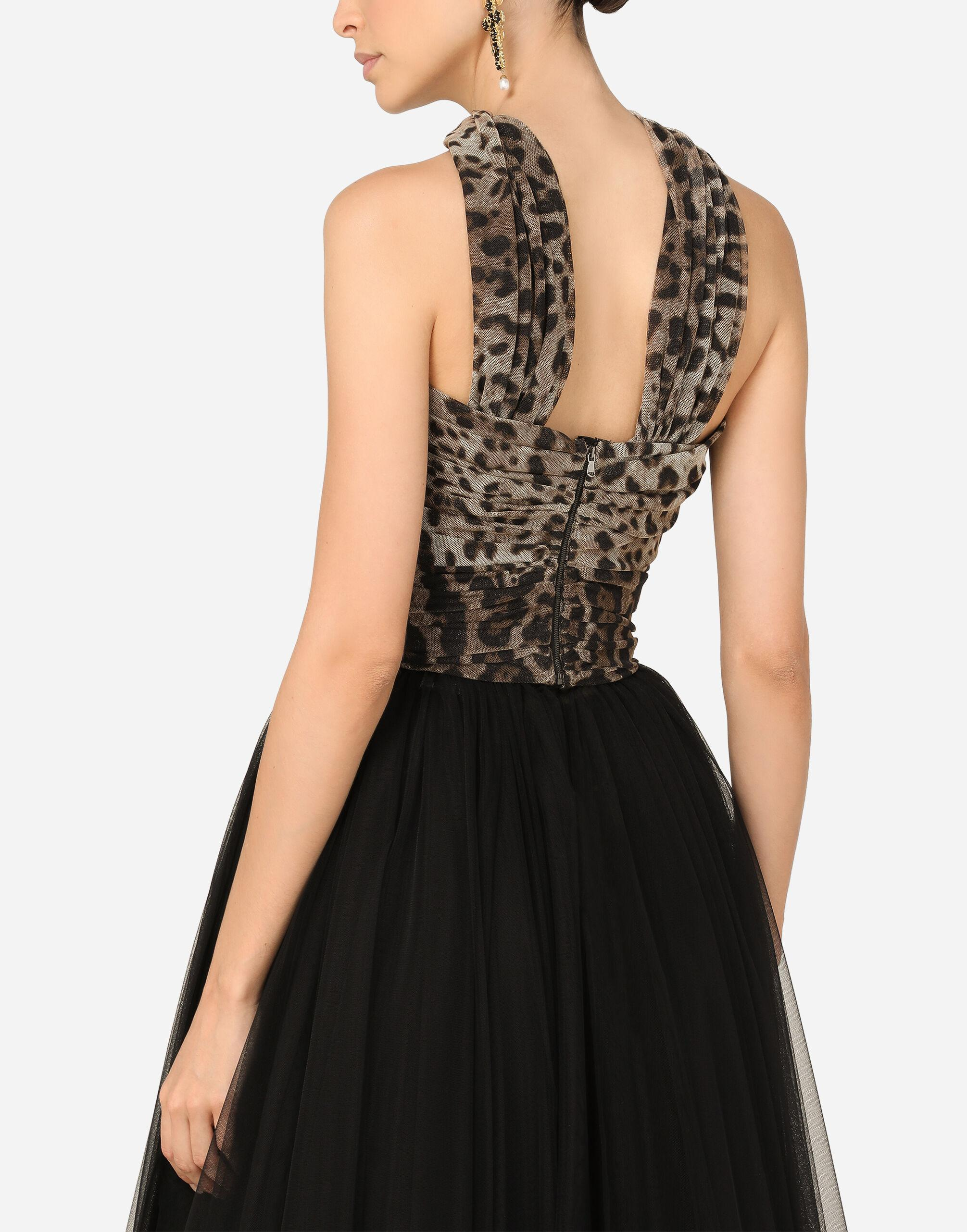 Calf-length dress in leopard-print and solid-colour tulle 4