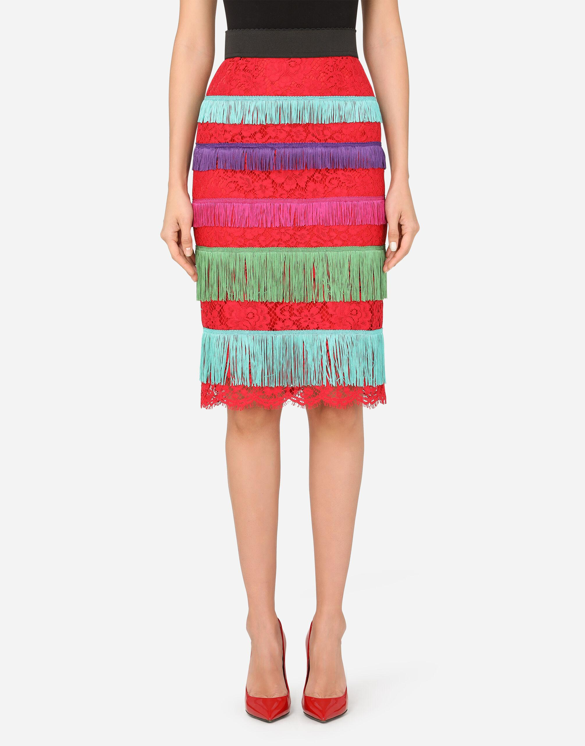 Lace midi skirt with fringed detailing